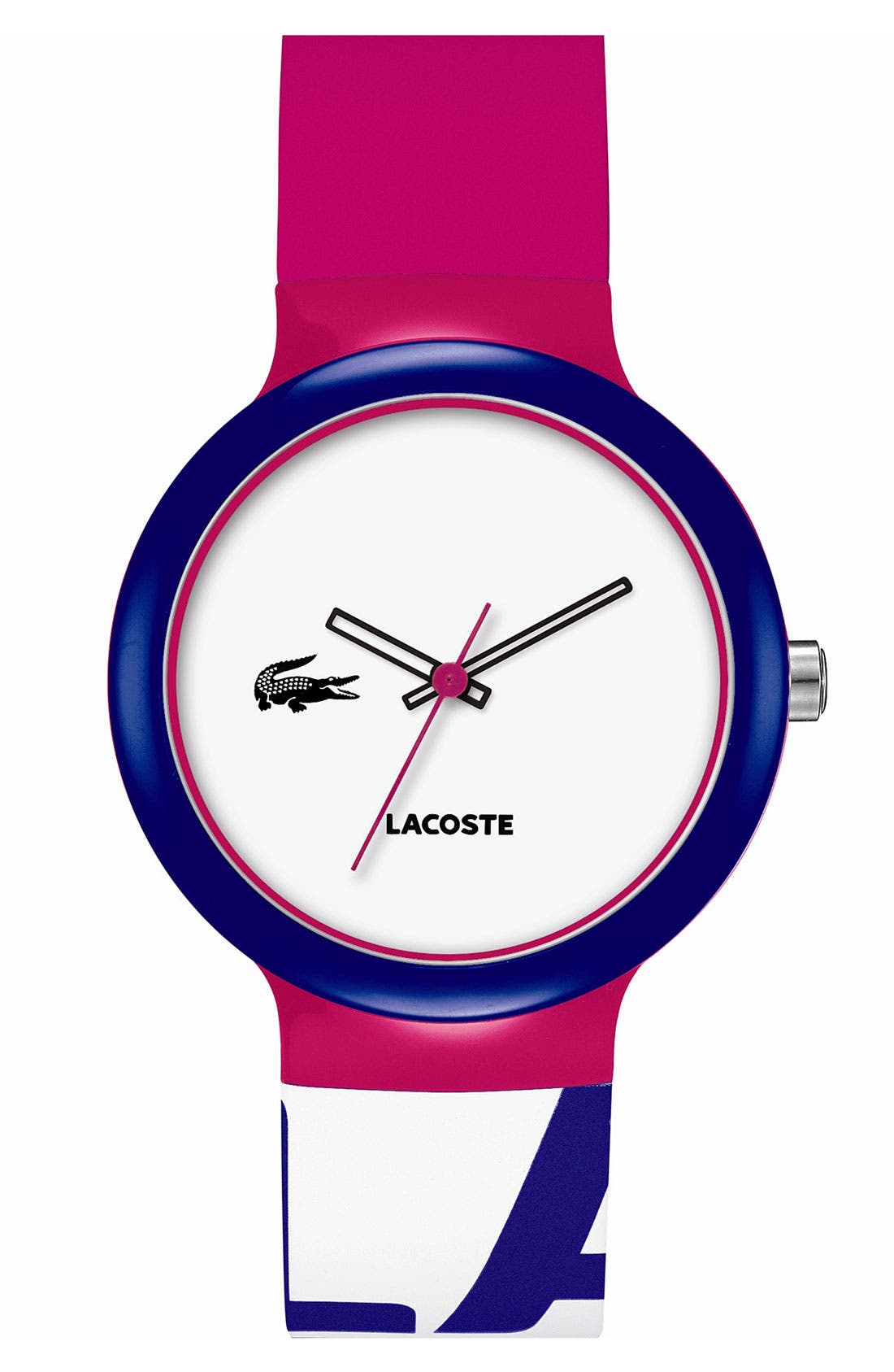 Main Image - Lacoste 'Goa' Colorblock Silicone Strap Watch, 40mm