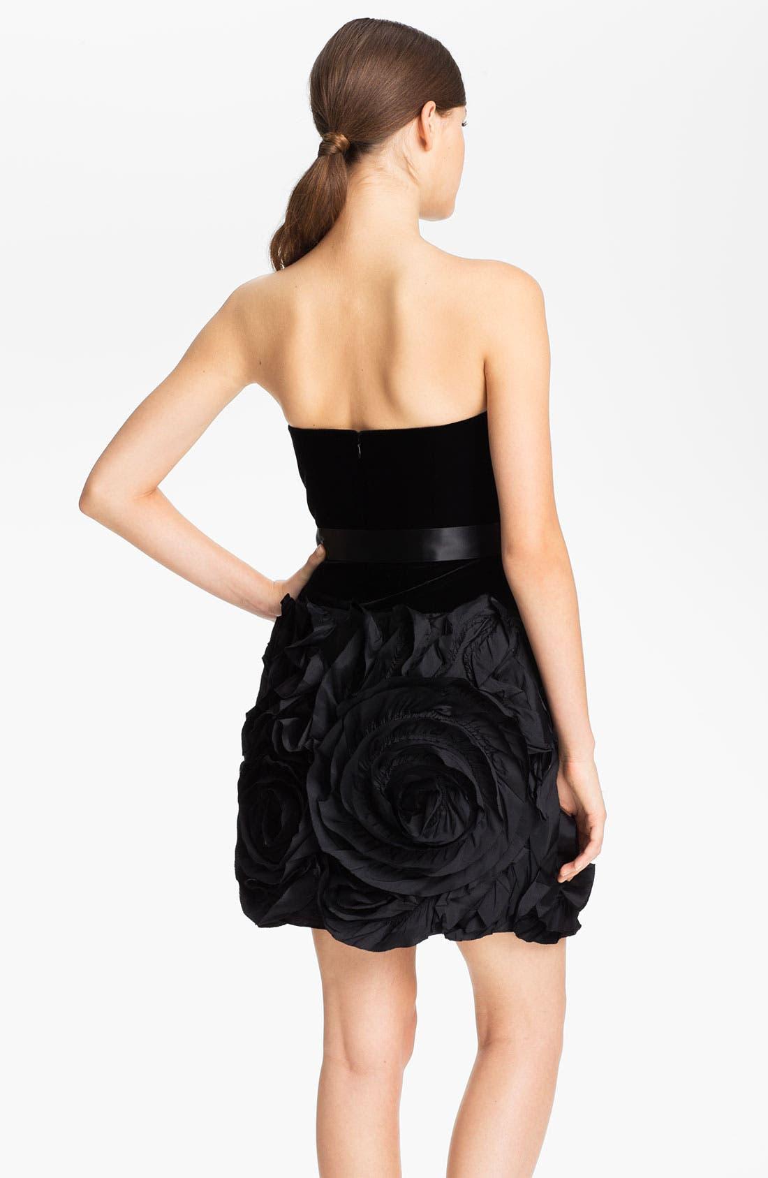 Alternate Image 2  - Adrianna Papell Strapless Rosette Detail Velvet Dress