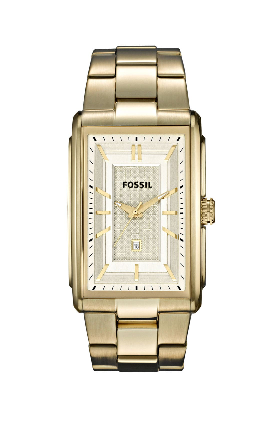 Alternate Image 1 Selected - Fossil 'Truman' Rectangular Bracelet Watch, 33mm x 49mm