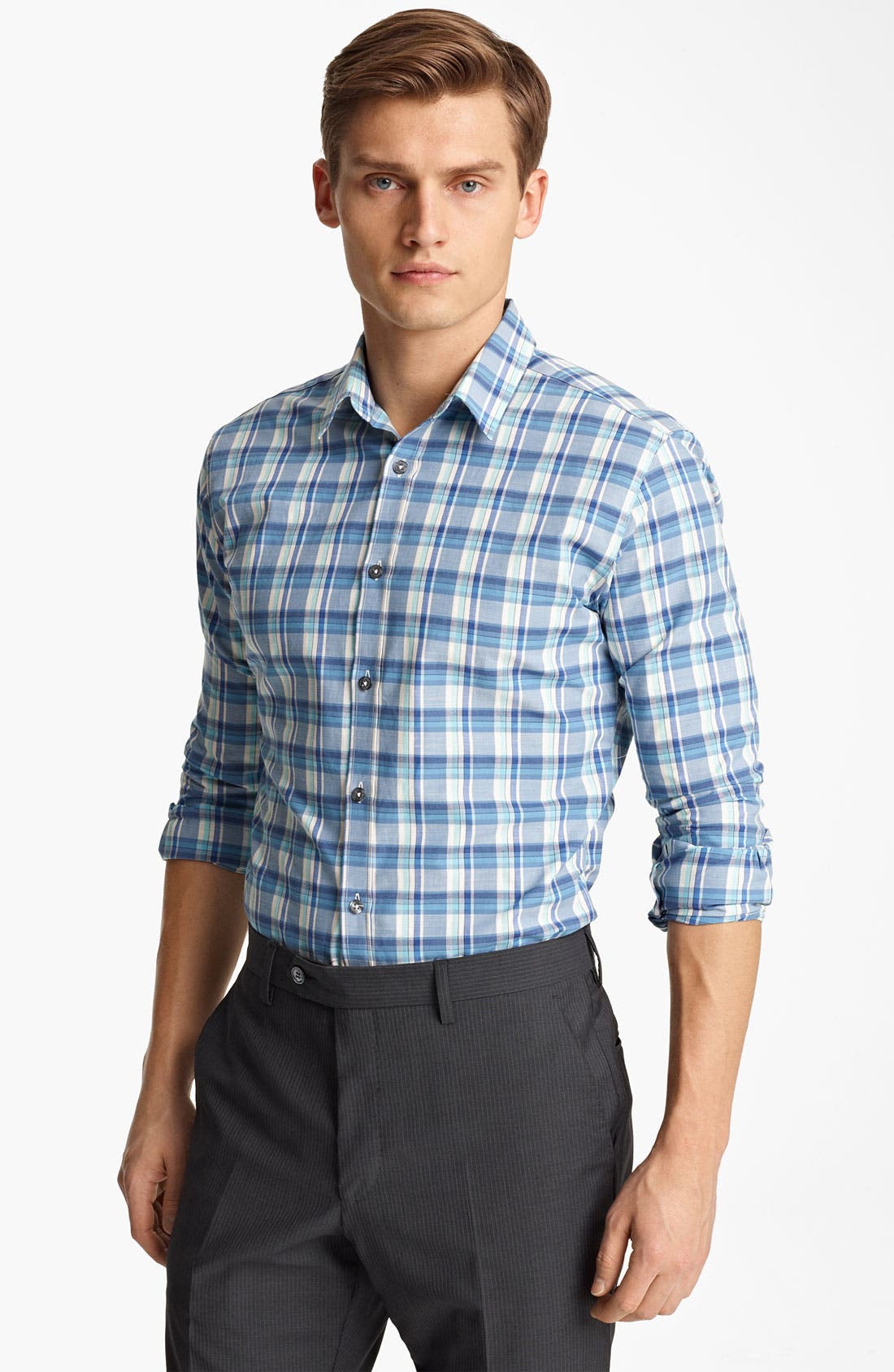 Alternate Image 1 Selected - PS Paul Smith Slim Fit Plaid Woven Shirt