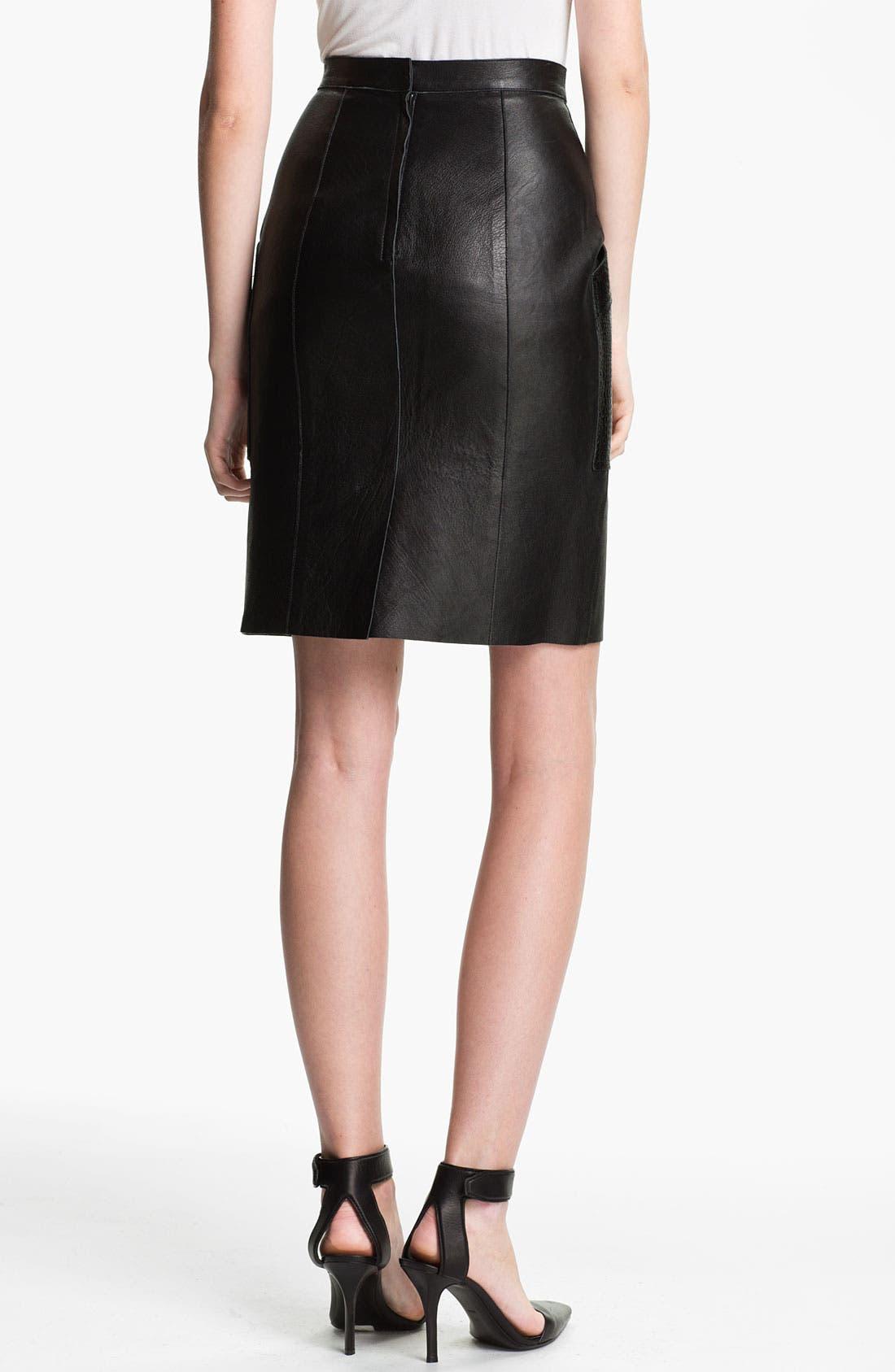 Alternate Image 2  - Alexander Wang Patch Pocket Leather Skirt