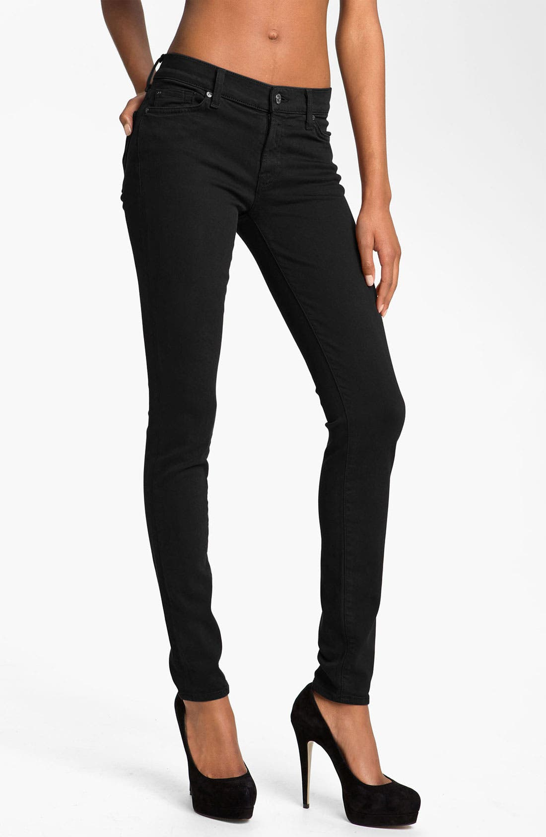 Alternate Image 1 Selected - 7 For All Mankind® 'Slim Illusion' Overdyed Skinny Stretch Jeans (Black)