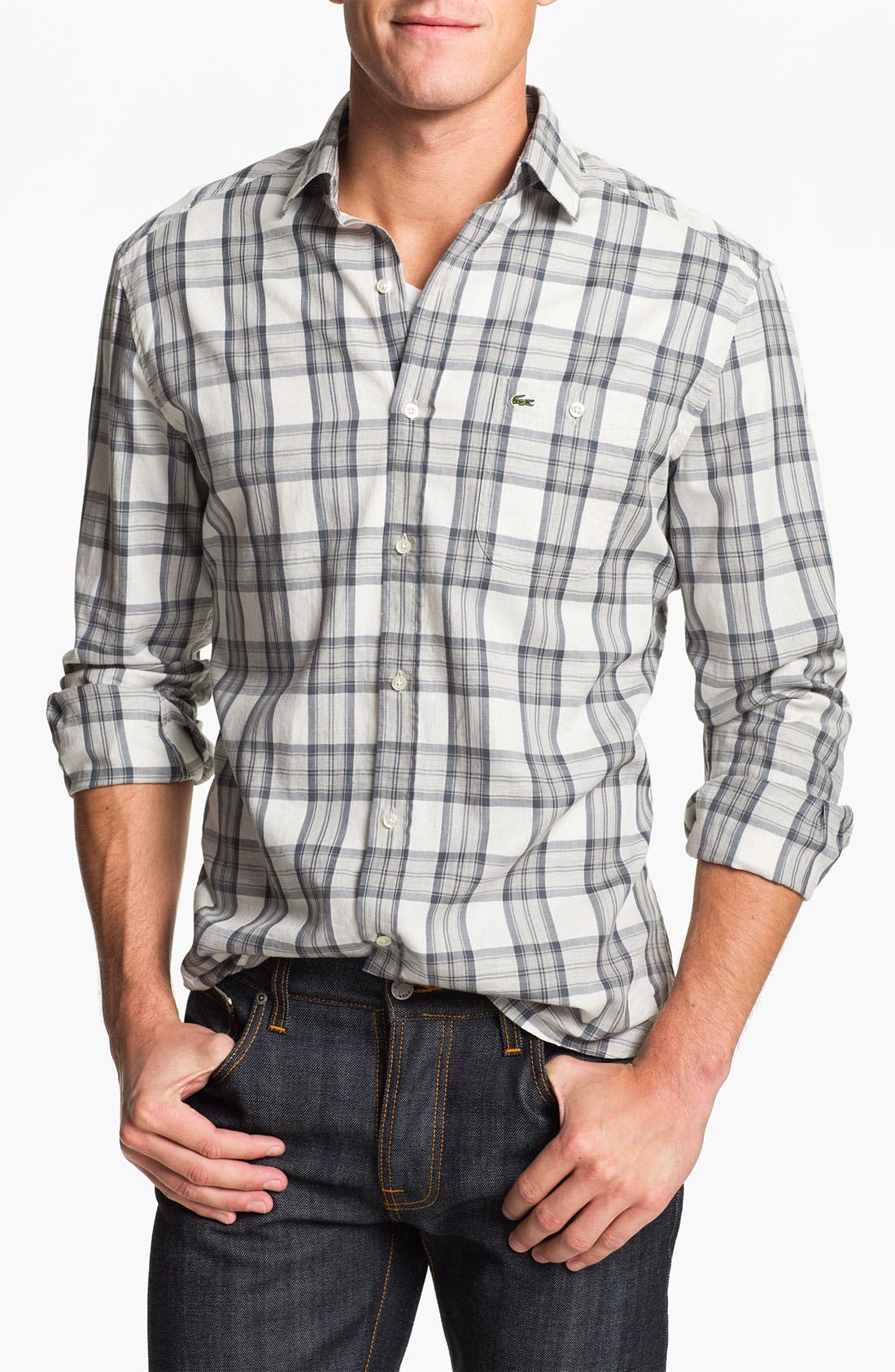 Alternate Image 1 Selected - Lacoste Slim Fit Plaid Woven Shirt