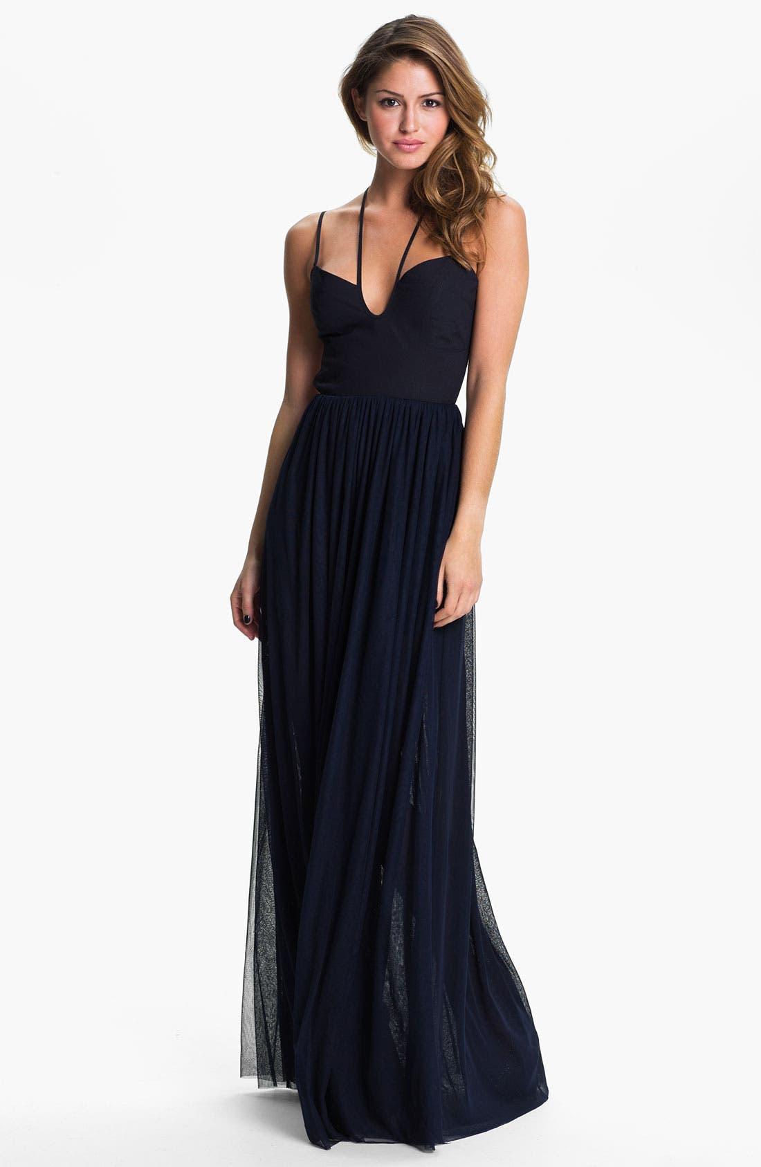 Main Image - Keepsake the Label 'Smoke & Mirrors' Back Cutout Mesh Maxi Dress