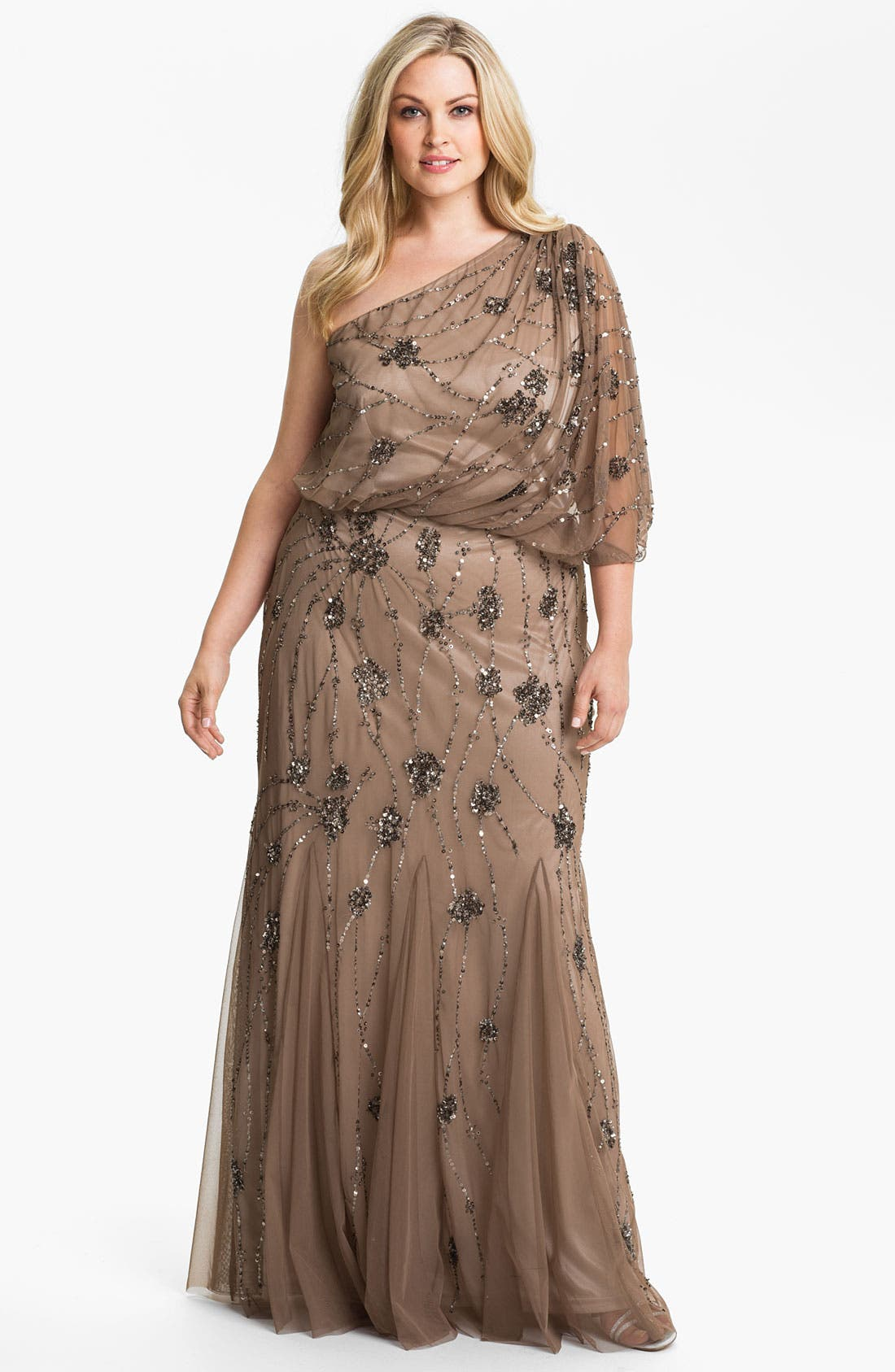 Main Image - Adrianna Papell Beaded One Shoulder Gown (Plus Size)