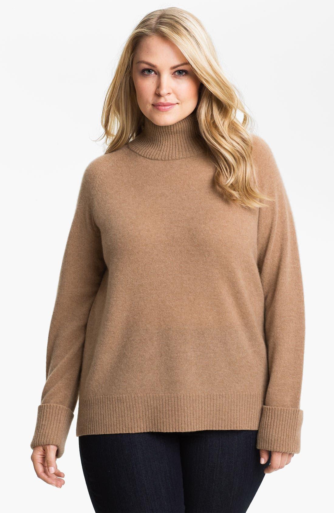 Alternate Image 1 Selected - Halogen® Mock Neck Cashmere Sweater (Plus)