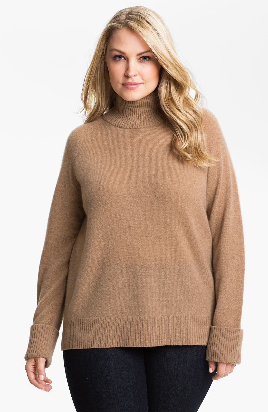 Main Image - Halogen® Mock Neck Cashmere Sweater (Plus)