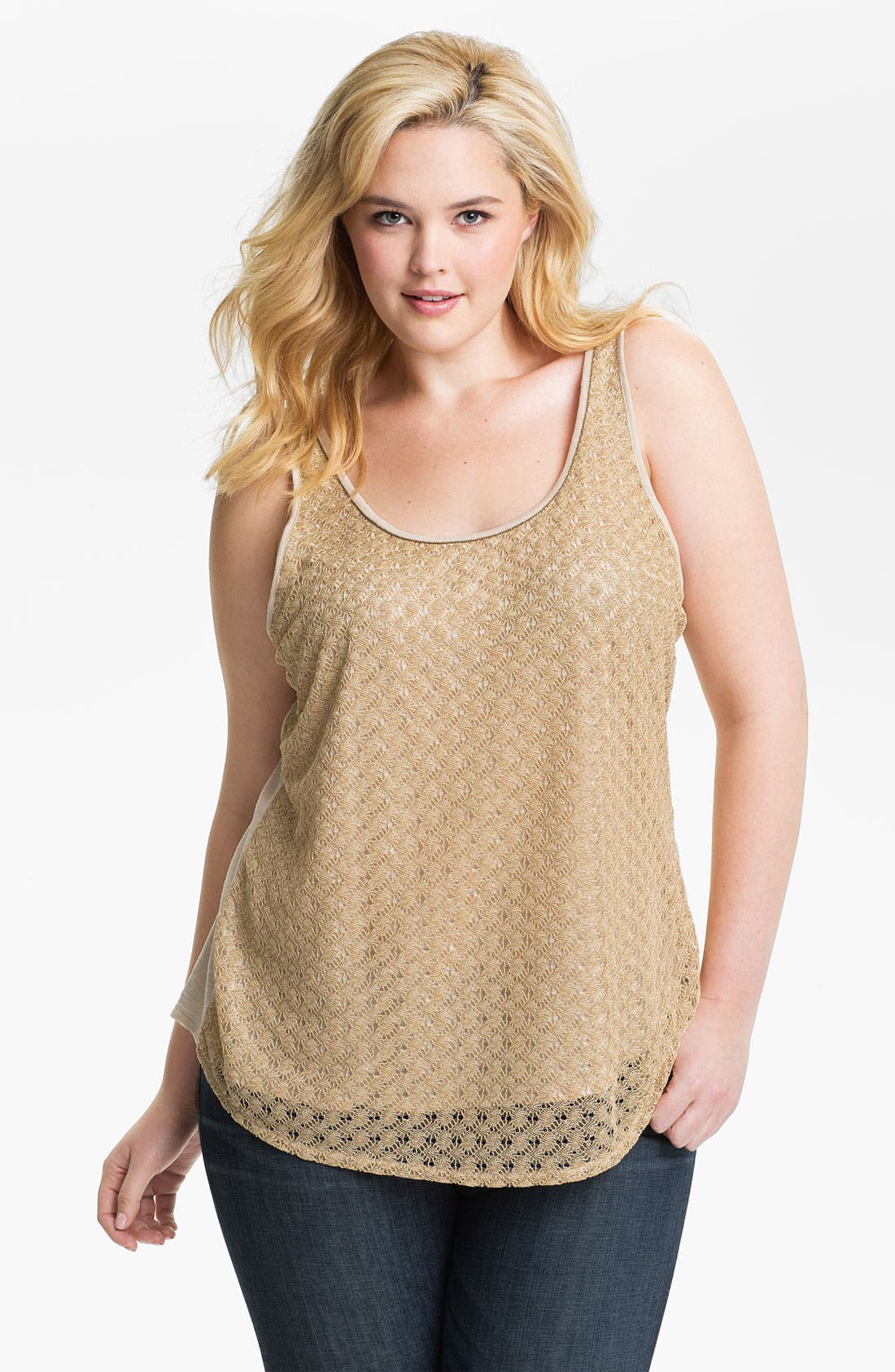 Main Image - Lucky Brand 'Gilded' Lace Overlaid Tank (Plus)