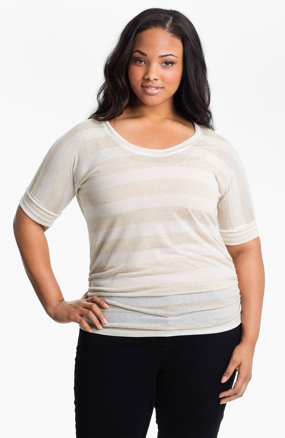 Alternate Image 1 Selected - Olivia Moon Ruched Stripe Knit Top (Plus)