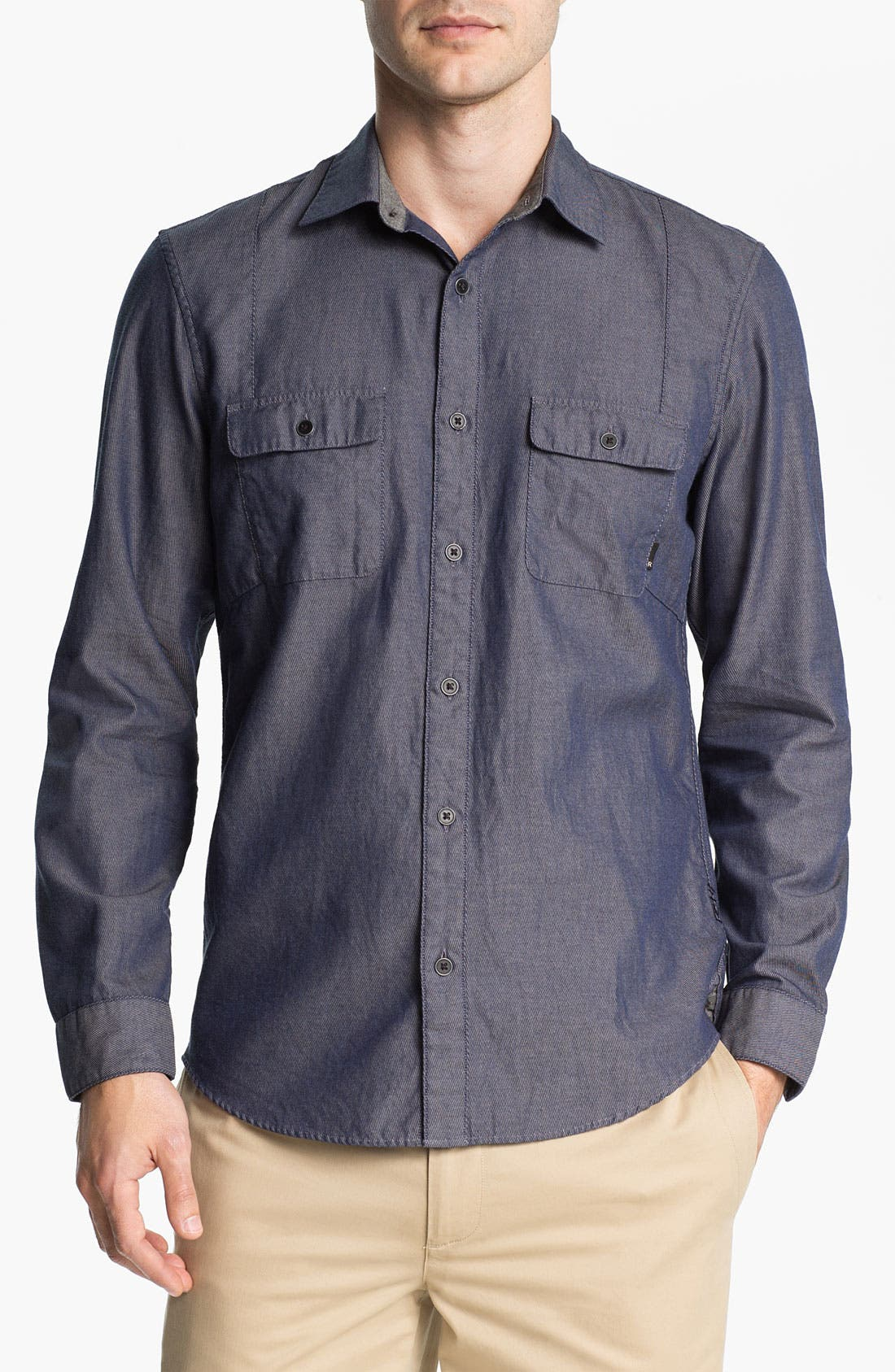 Alternate Image 1 Selected - R44 Rogan Standard Issue Twill Denim Shirt