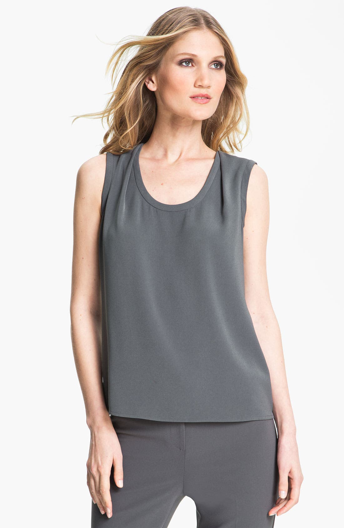 Main Image - St. John Collection Shoulder Tuck Crepe Shell