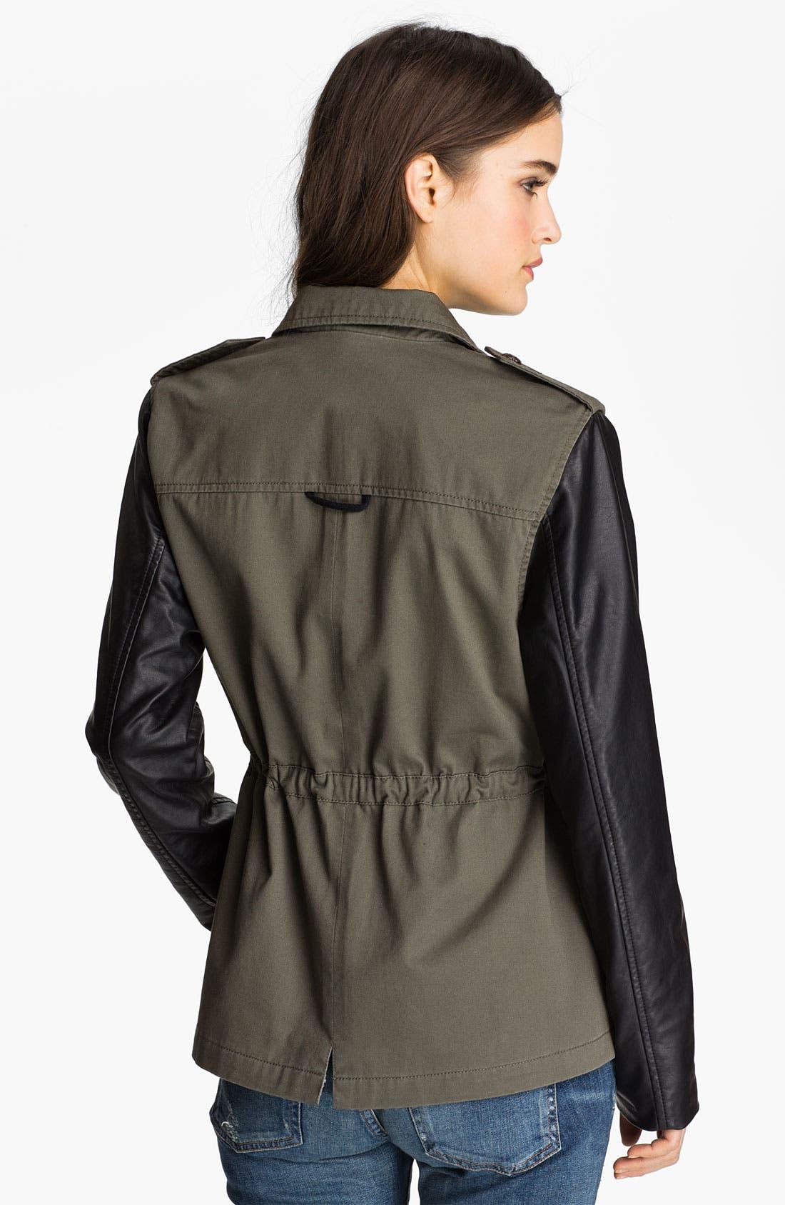 Alternate Image 2  - Sanctuary Faux Leather Sleeve Army Jacket