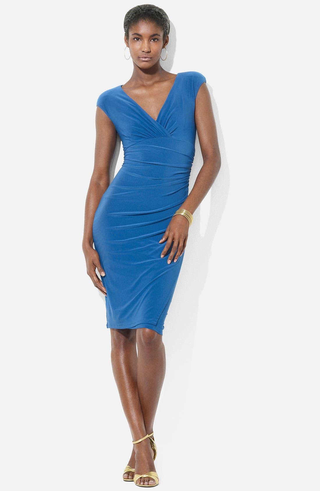 Main Image - Lauren Ralph Lauren Cap Sleeve Surplice Jersey Dress (Petite)