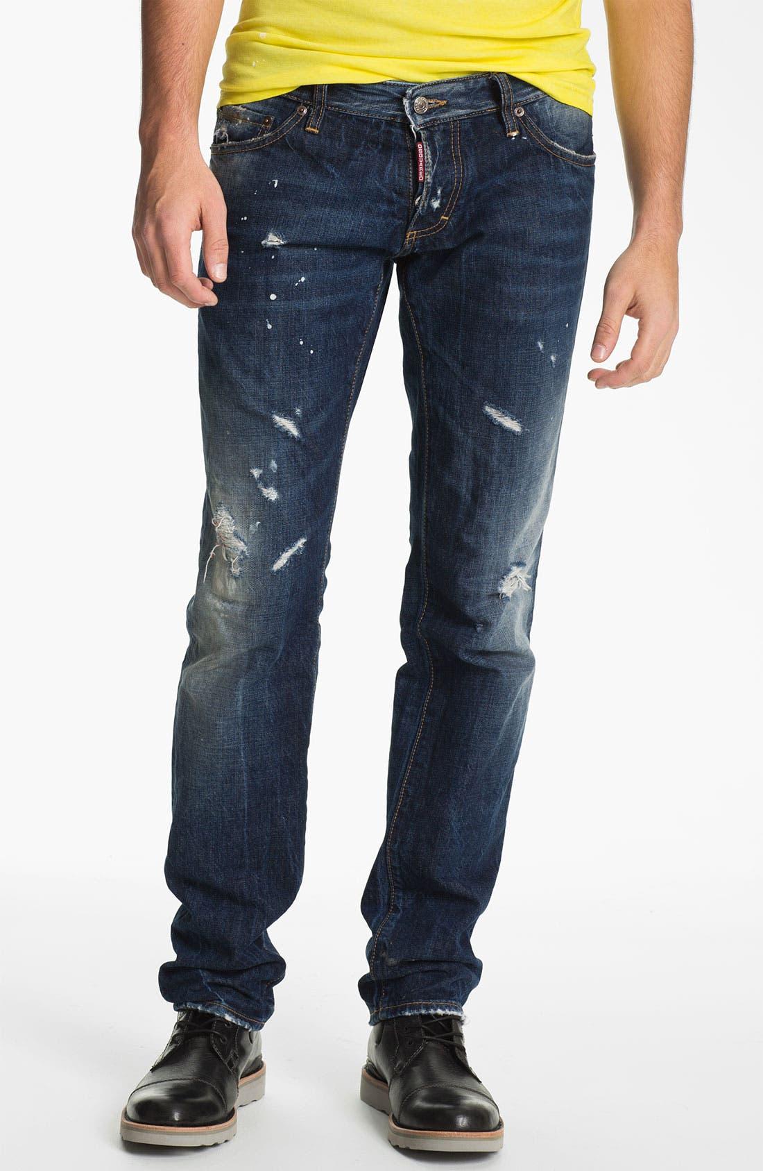 Main Image - Dsquared2 Slim Fit Jeans (Distressed Blue)