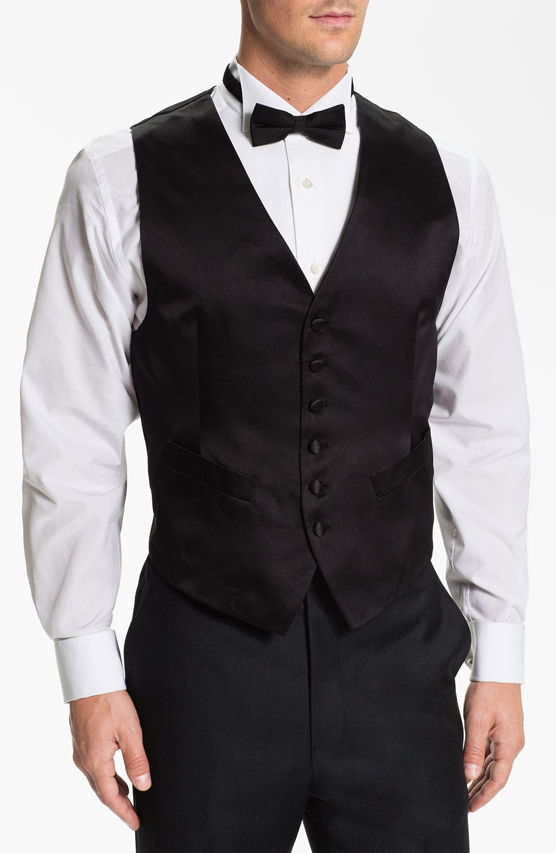 Silk Vest,                             Main thumbnail 1, color,                             Black Satin