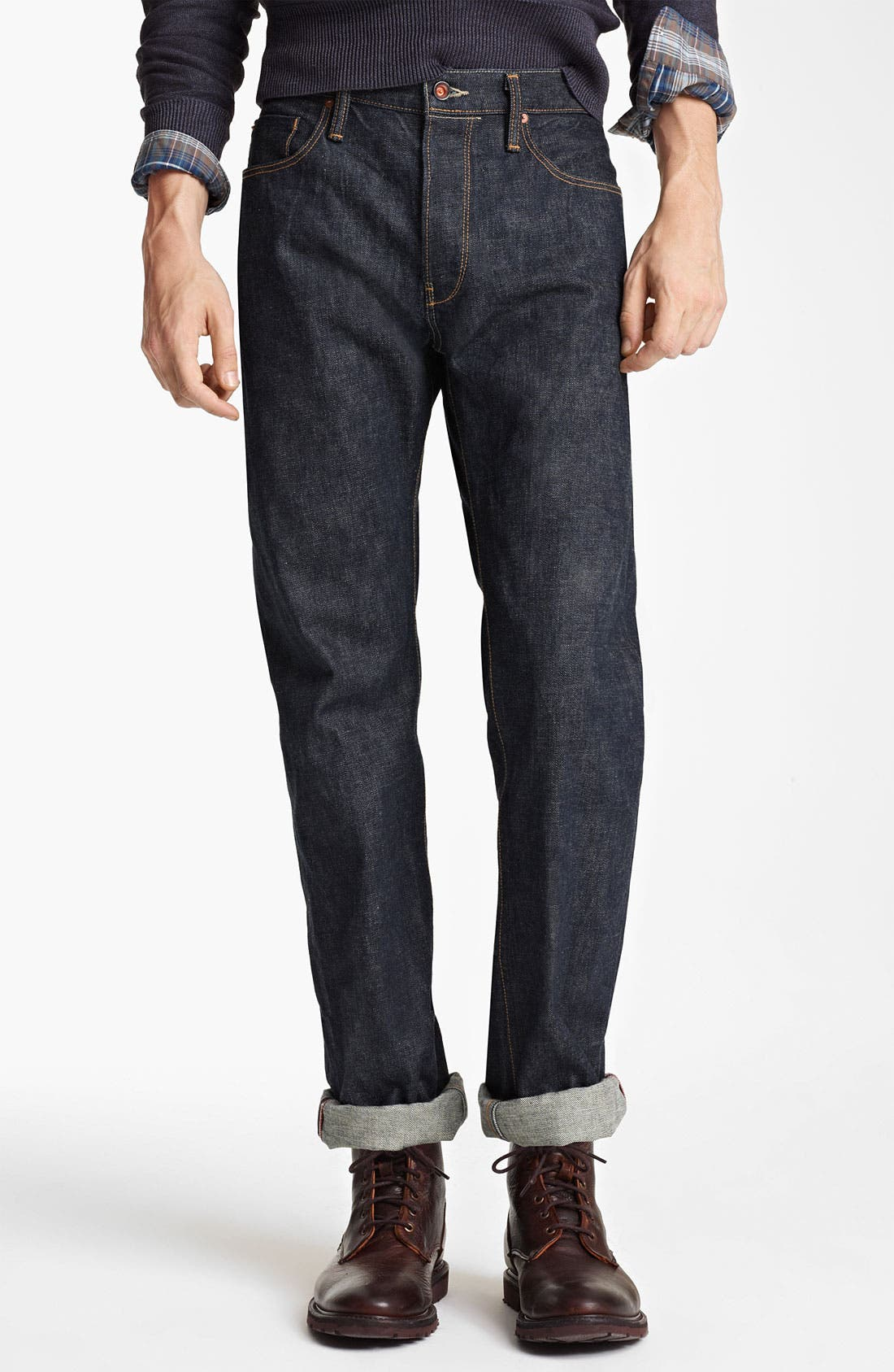 Alternate Image 1 Selected - Todd Snyder Straight Leg Jeans (Indigo)