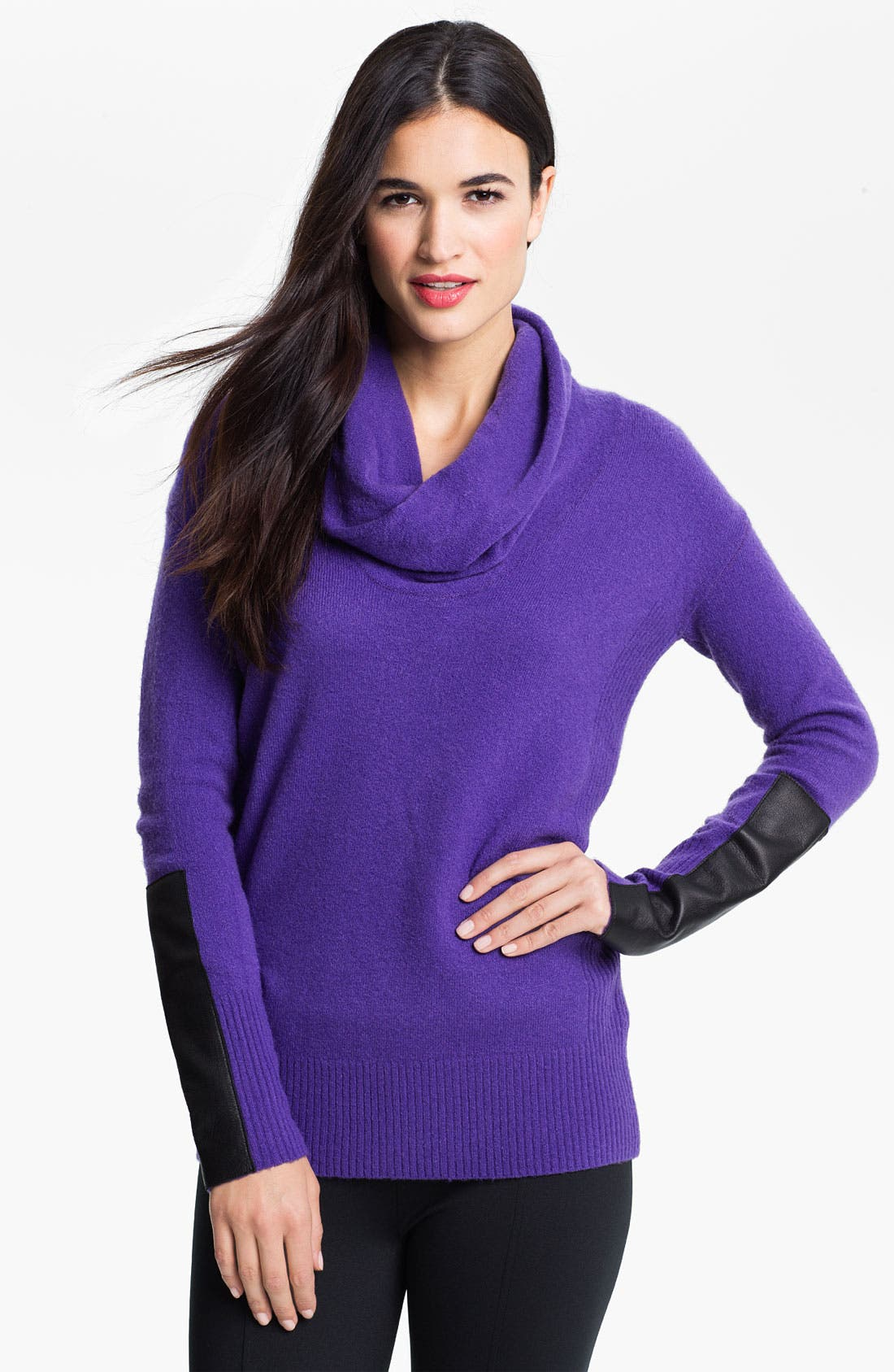 Alternate Image 1 Selected - DKNYC Faux Leather Trim Cowl Neck Sweater