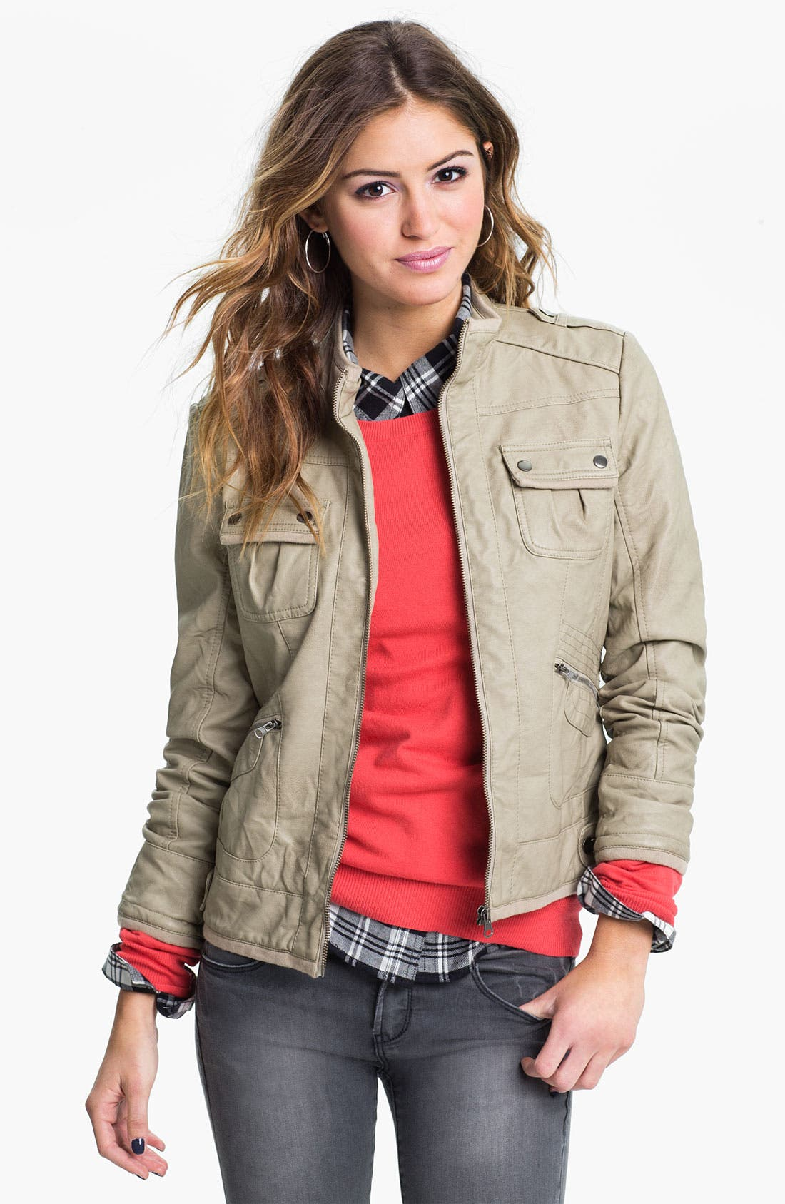 Alternate Image 1 Selected - Collection B Faux Leather Jacket (Juniors)