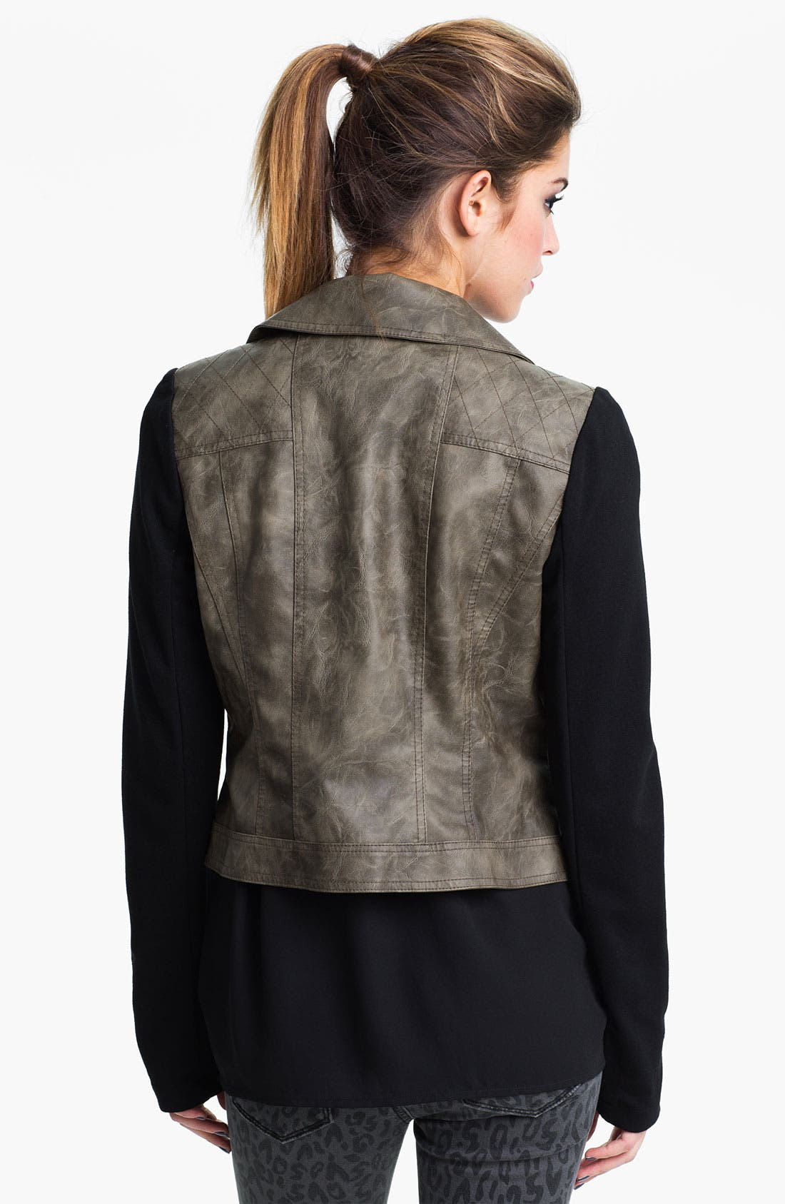 Alternate Image 2  - Collection B Faux Leather & Ponte Jacket (Juniors)