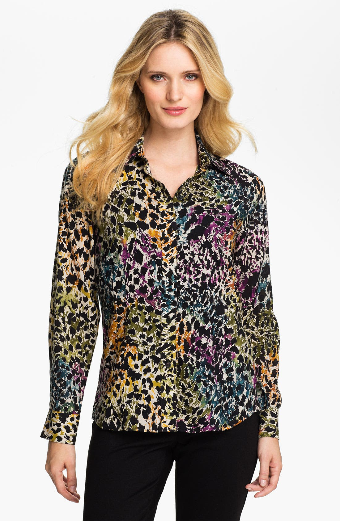 Main Image - Foxcroft Distressed Animal Print Shirt