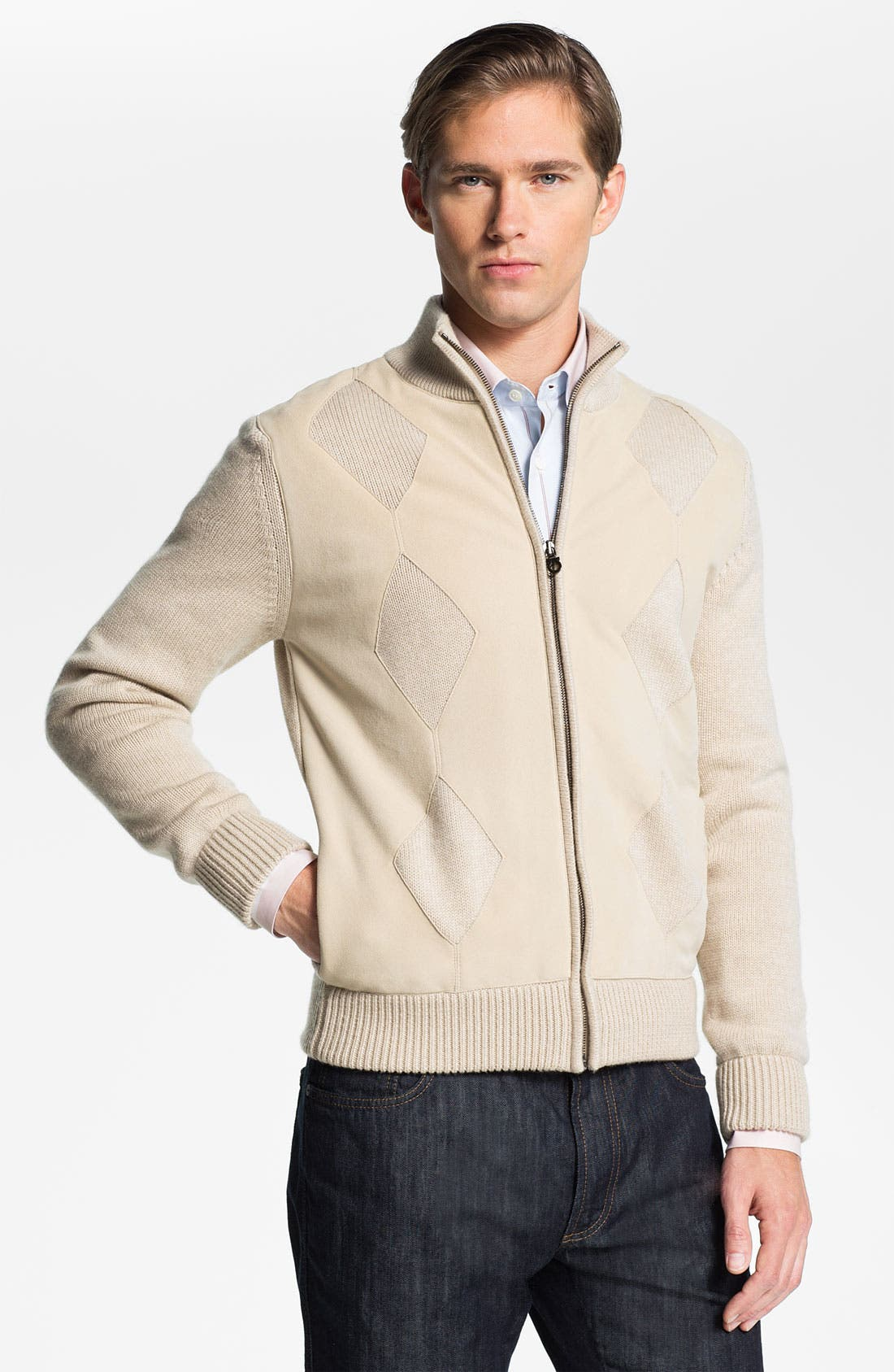 Alternate Image 1 Selected - Salvatore Ferragamo Wool & Suede Zip Cardigan