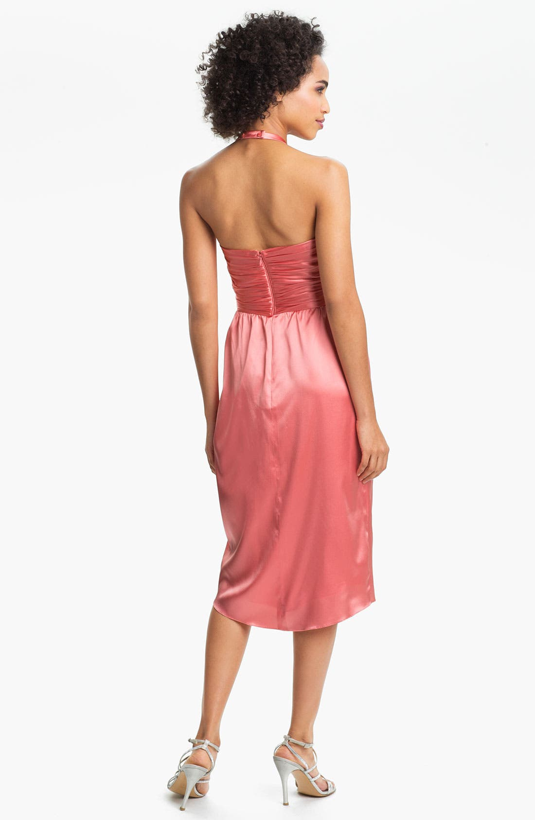 Alternate Image 2  - Suzi Chin for Maggy Boutique Ruched Charmeuse Halter Dress