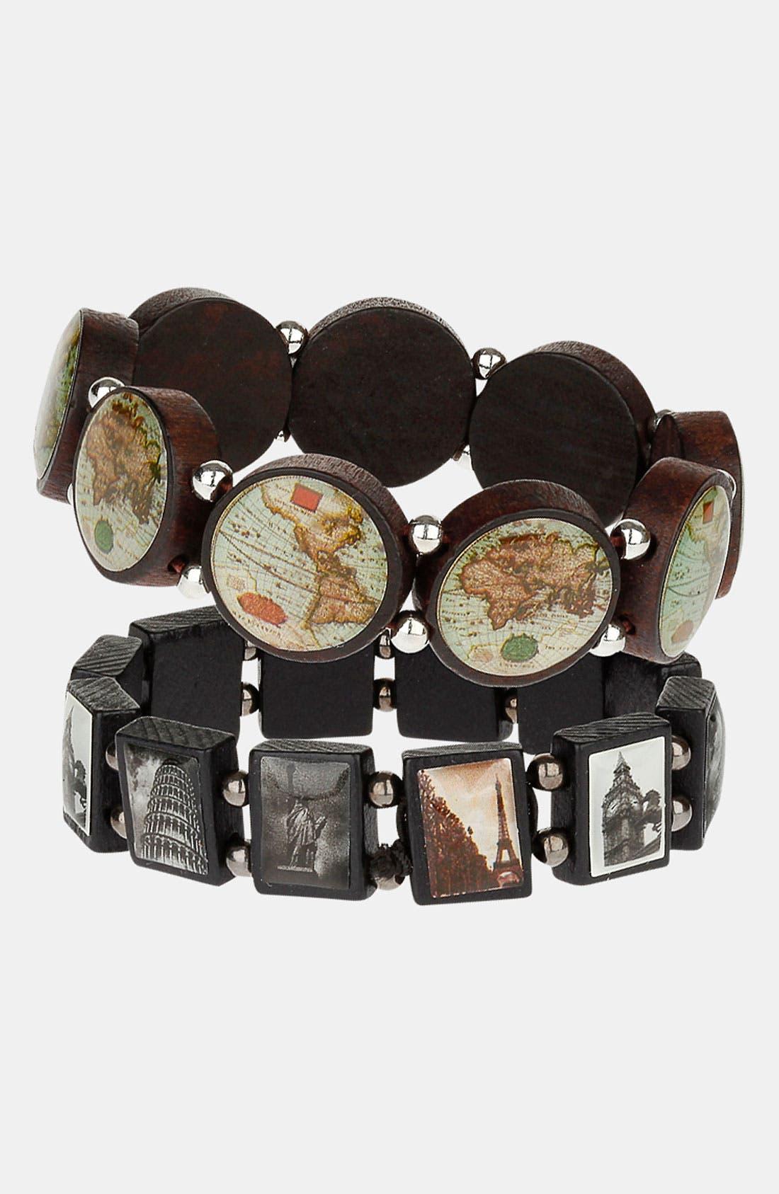 Alternate Image 1 Selected - Topman 'World' Stretch Bracelets (Set of 2)