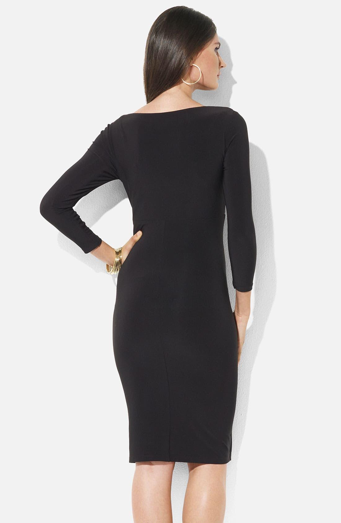 Alternate Image 2  - Lauren Ralph Lauren Ruched Surplice Jersey Sheath Dress