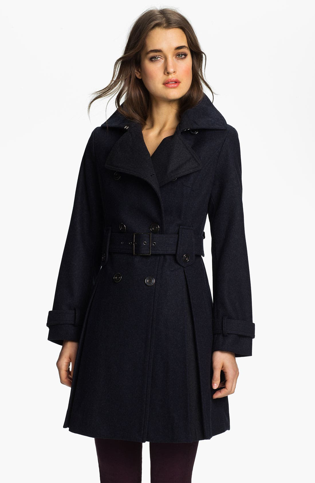 Main Image - Laundry by Shelli Segal Double Breasted Military Coat (Petite)