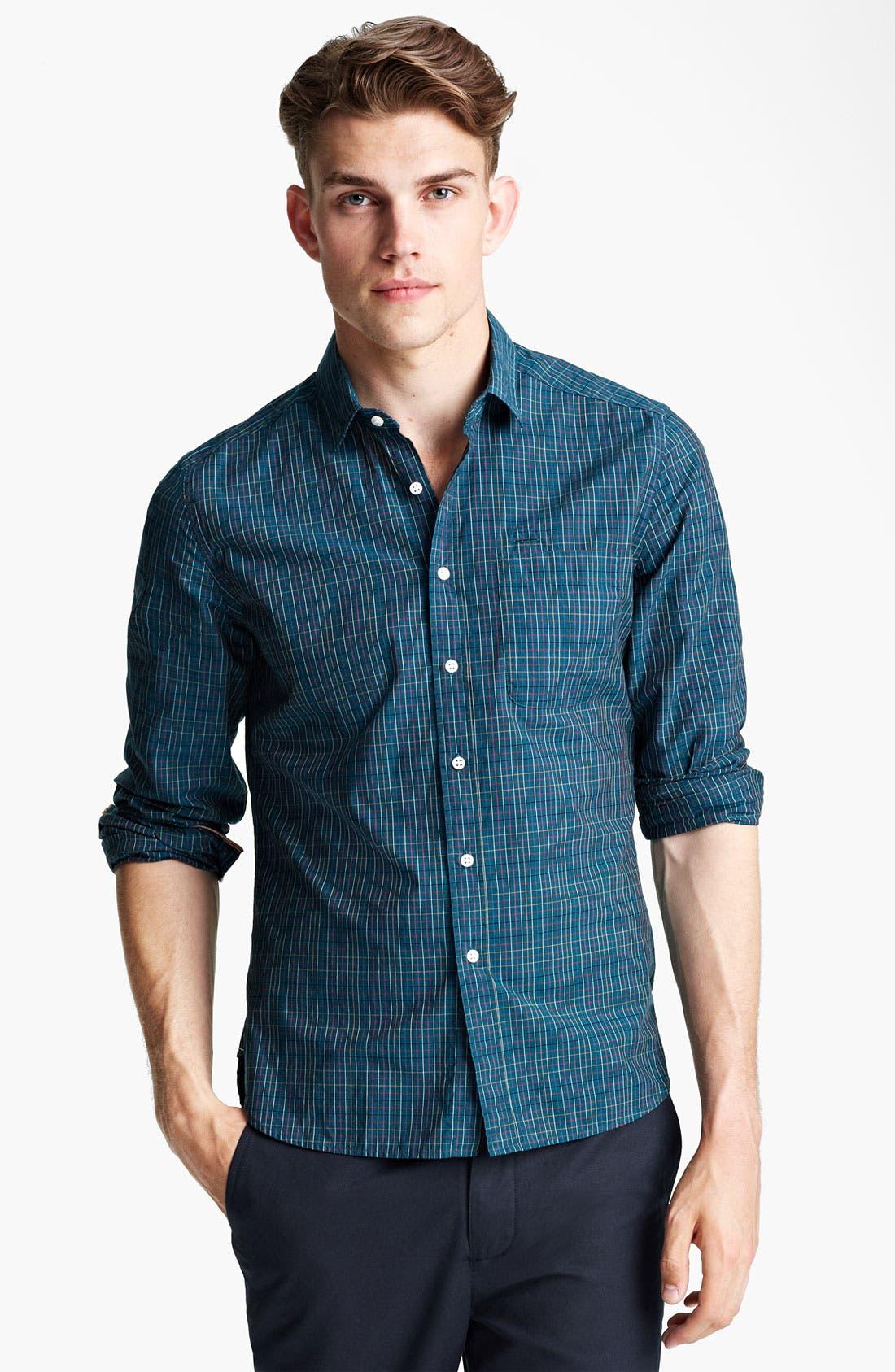 Plaid Woven Shirt,                         Main,                         color, Green Pop