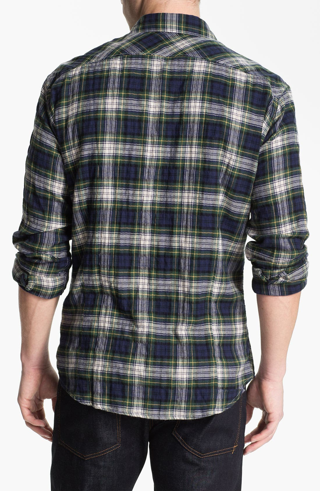 Country Plaid Herringbone Flannel Shirt,                             Alternate thumbnail 2, color,                             Navy