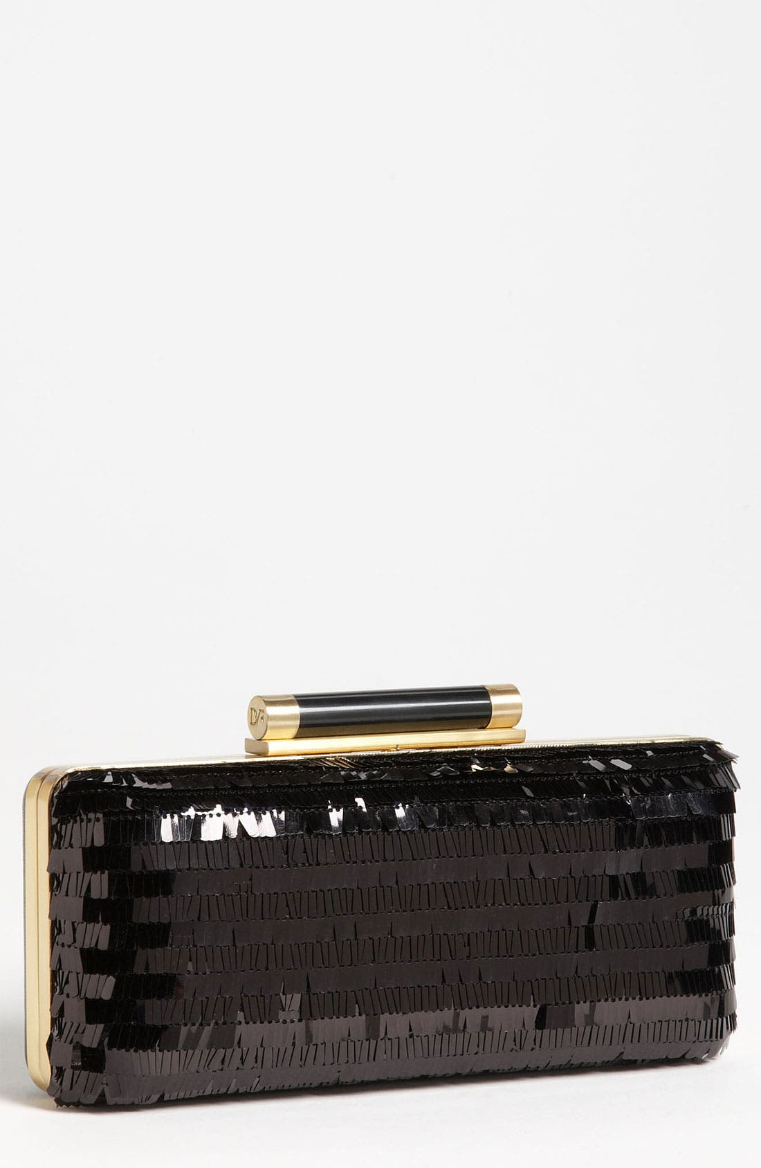 Main Image - Diane von Furstenberg 'Tonda - Large' Sequin & Leather Clutch