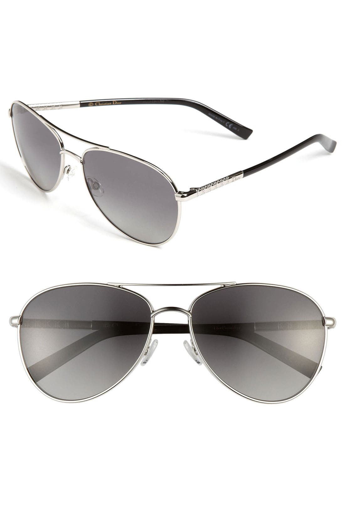 Main Image - Dior 'Picadilly 2' 59mm Polarized Metal Aviator Sunglasses