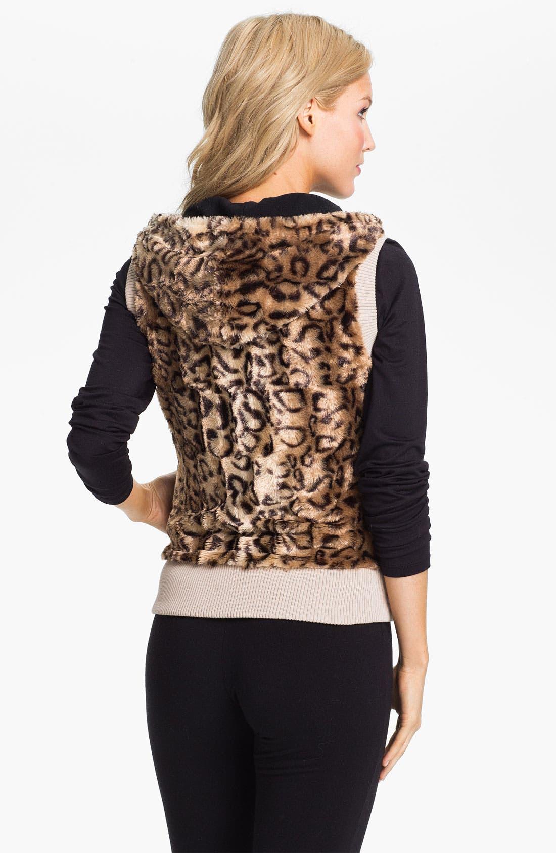 Alternate Image 2  - PJ Luxe Faux Leopard Fur Vest