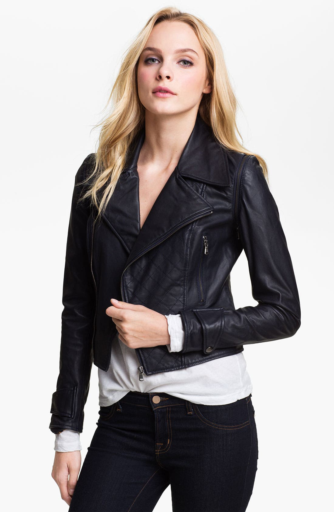 Main Image - Kenna-T Convertible Quilted Leather Biker Jacket