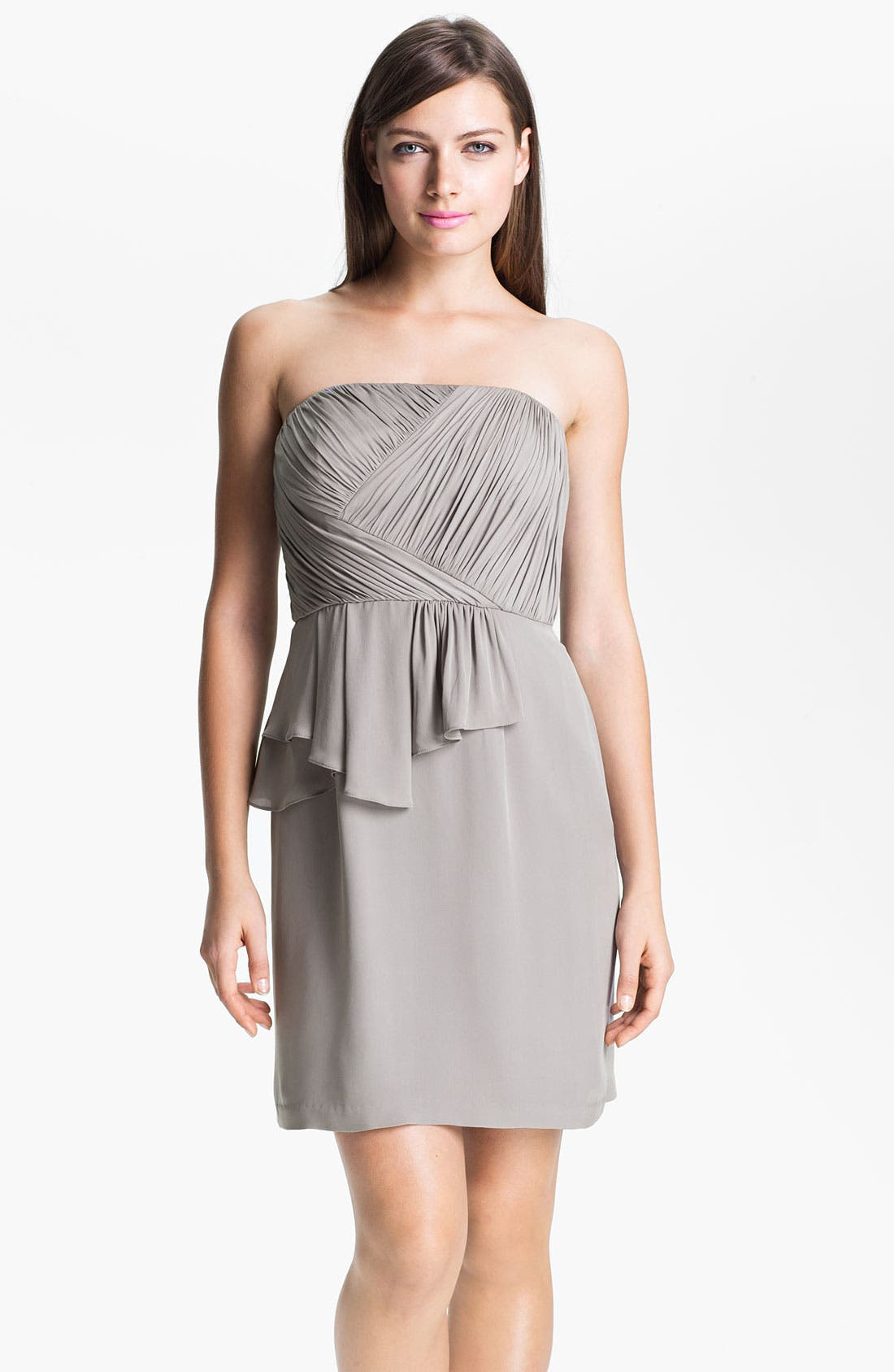 Main Image - Donna Morgan Ruched Asymmetrical Peplum Chiffon Dress