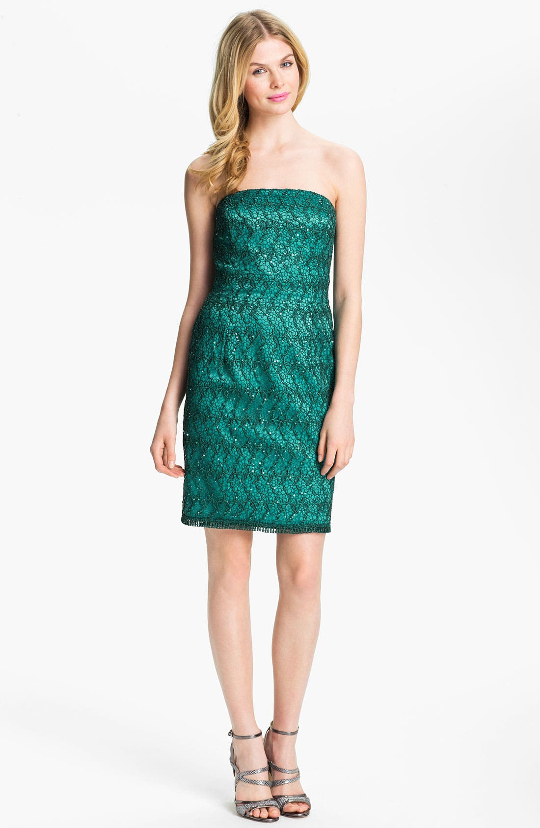 Alternate Image 1 Selected - Adrianna Papell Strapless Sequin & Lace Sheath Dress