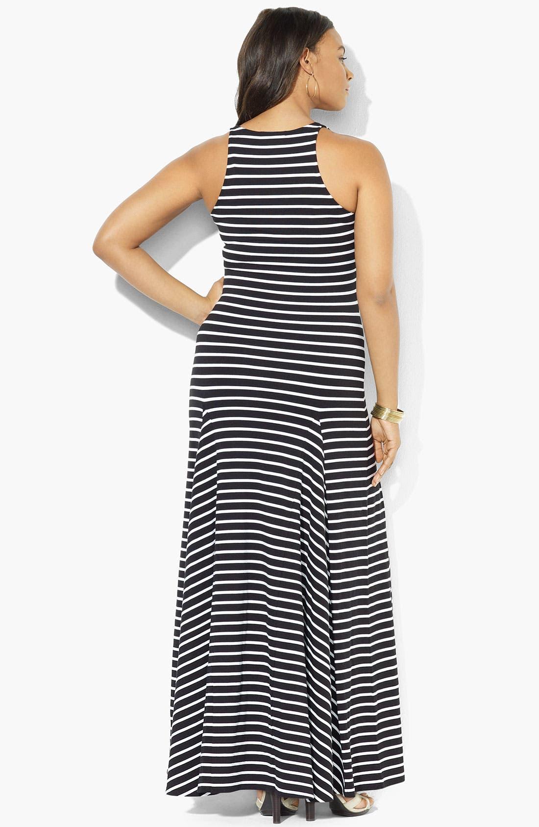 Alternate Image 2  - Lauren Ralph Lauren V-Neck Maxi Dress (Plus)