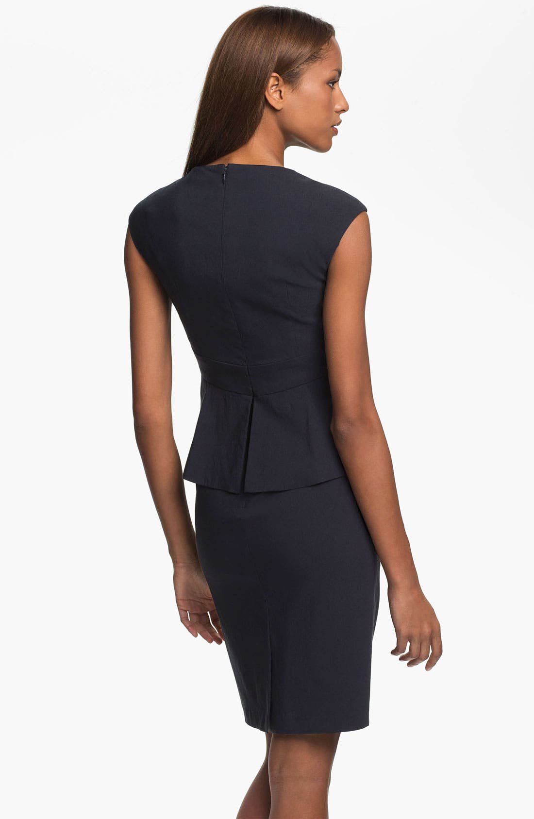 Alternate Image 2  - Kay Unger Cap Sleeve Side Peplum Woven Dress
