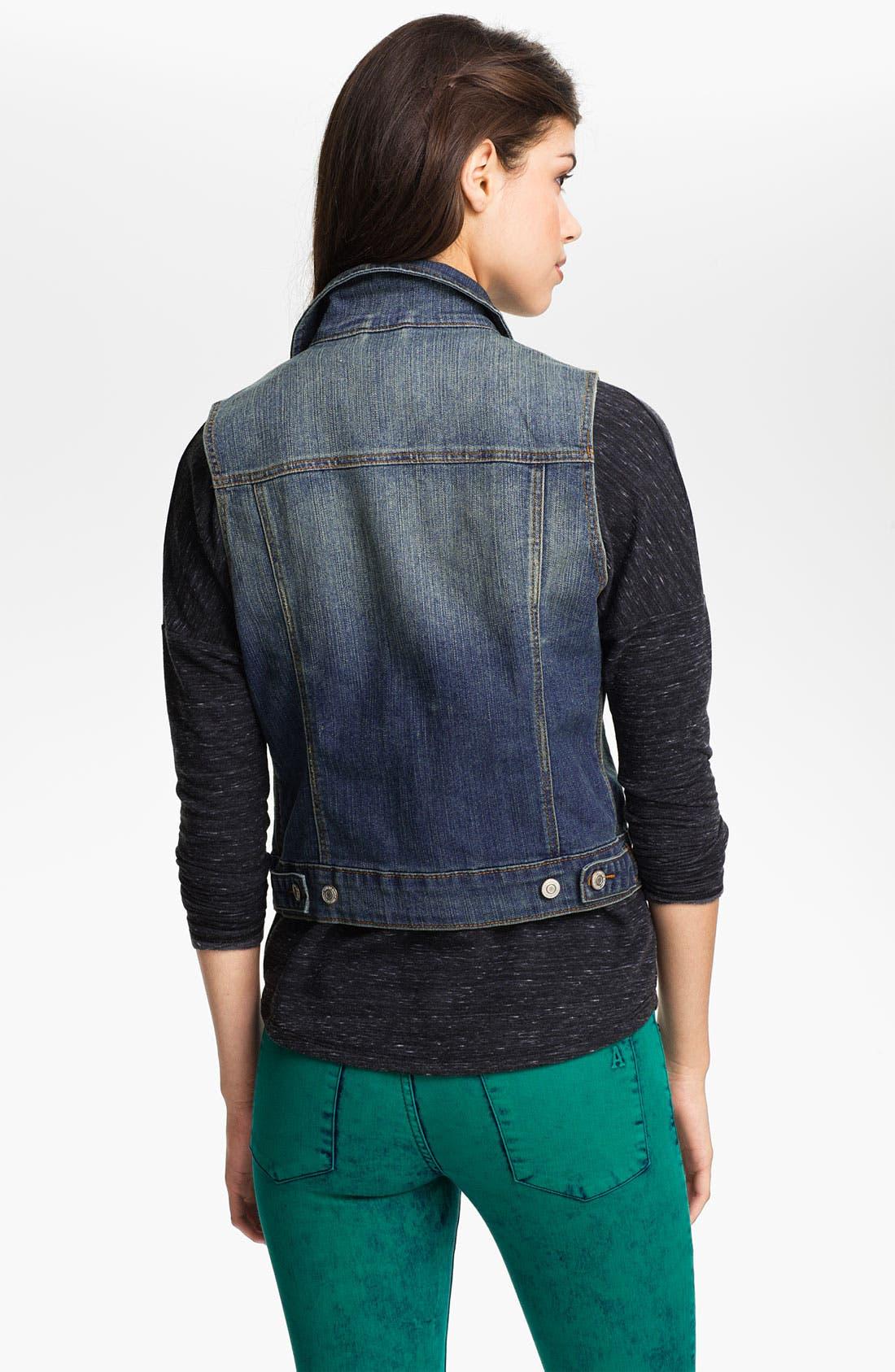 Alternate Image 2  - Thread & Supply Vintage Wash Denim Vest (Juniors)