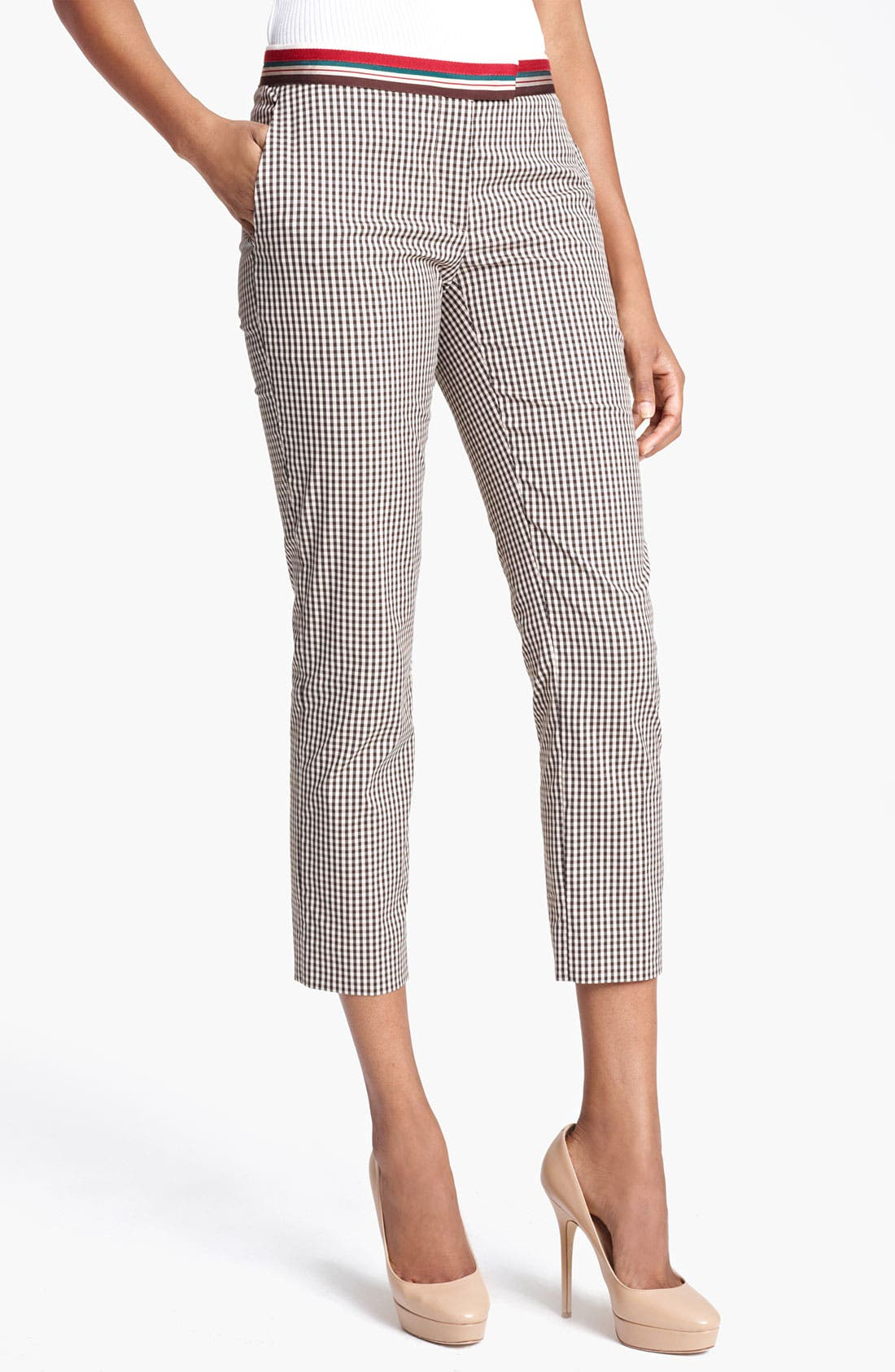 Alternate Image 1 Selected - Moschino Cheap & Chic Gingham Crop Pants