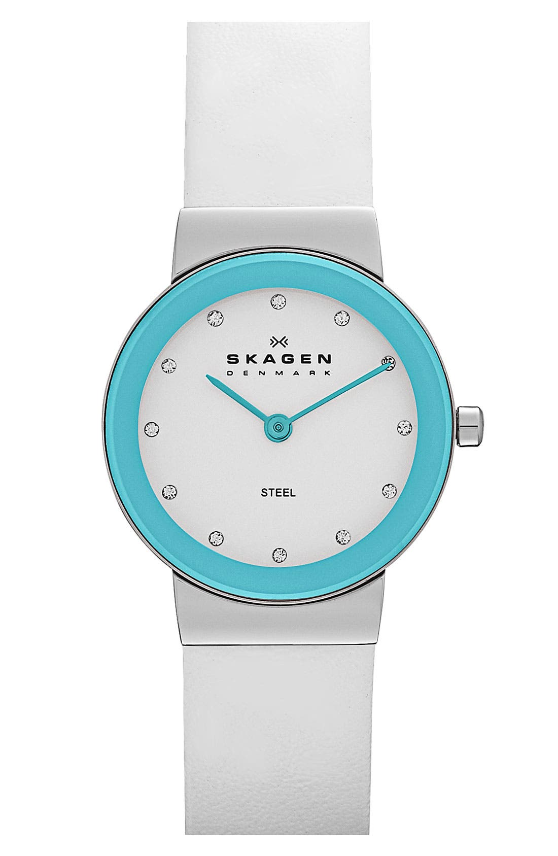 Alternate Image 1 Selected - Skagen Color Border Leather Strap Watch