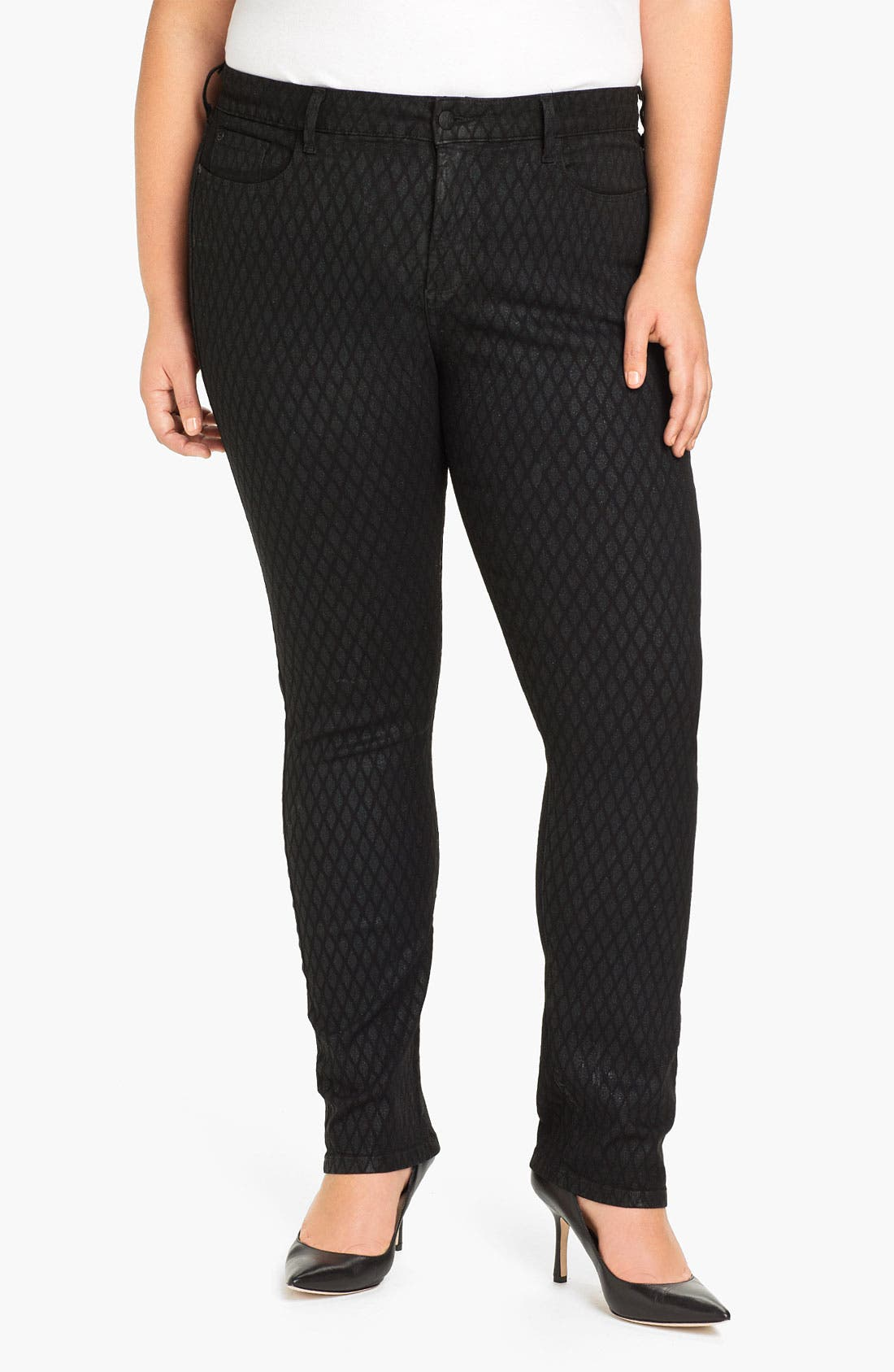 Main Image - NYDJ 'Sheri - Geometric Glitter' Skinny Denim Jeans (Plus)