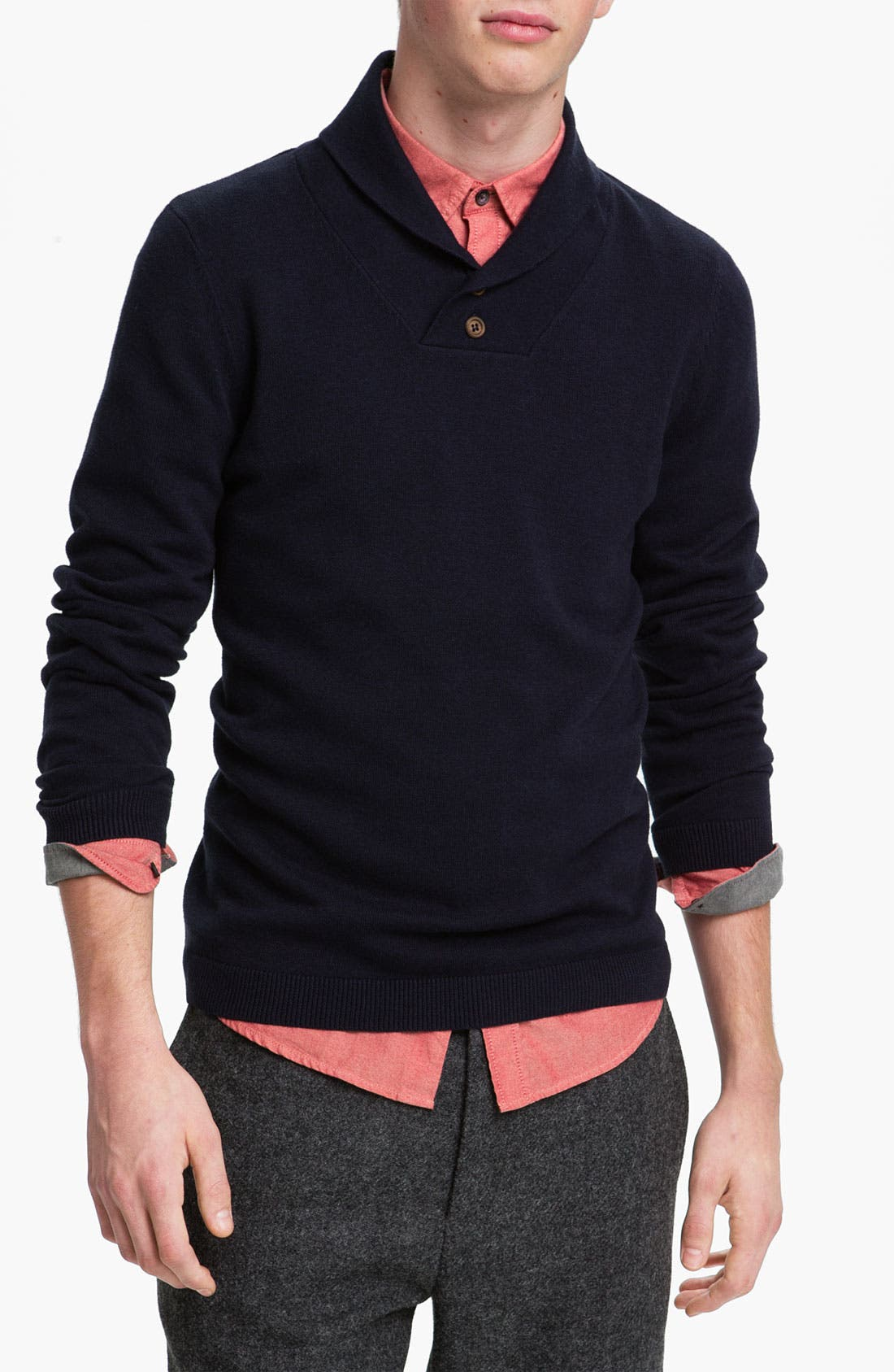 Alternate Image 1 Selected - Topman Shawl Collar Sweater