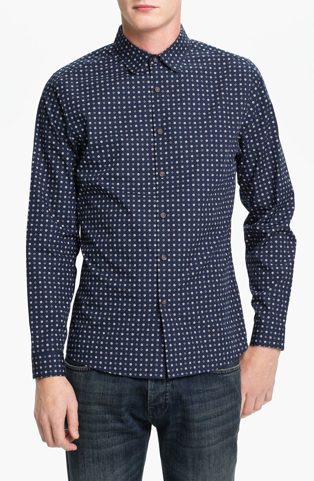 Main Image - Topman Floral Print Slim Fit Dress Shirt