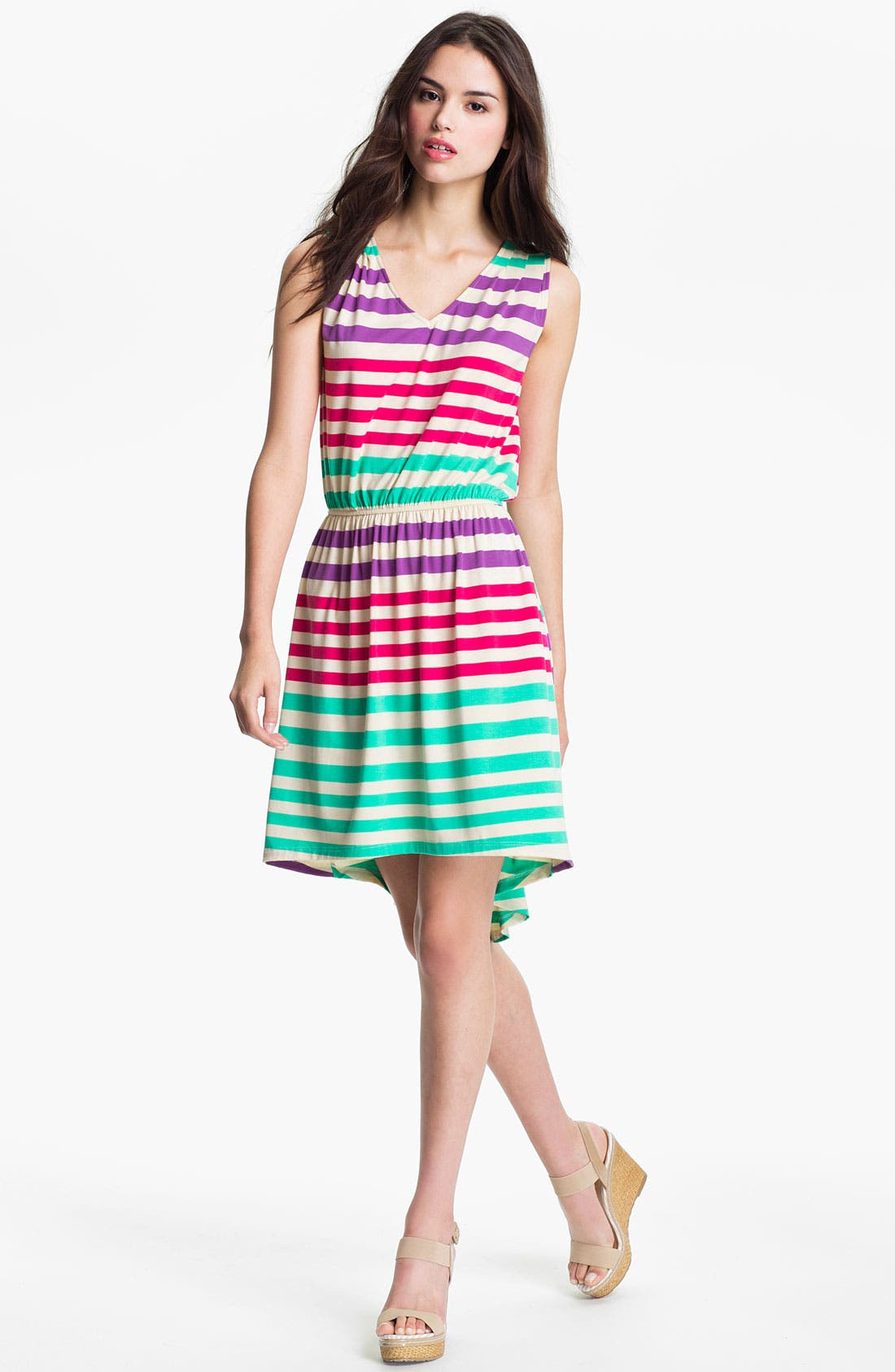 Alternate Image 1 Selected - Pleione Stripe V-Neck Dress