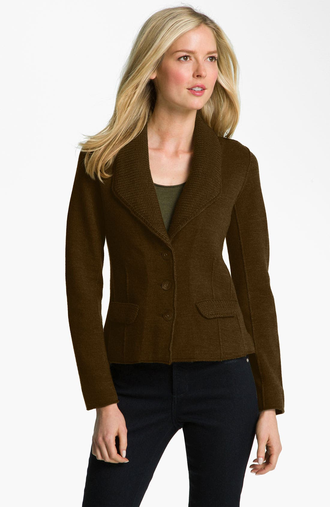 Alternate Image 1 Selected - Eileen Fisher Felted Double Knit Jacket (Petite)