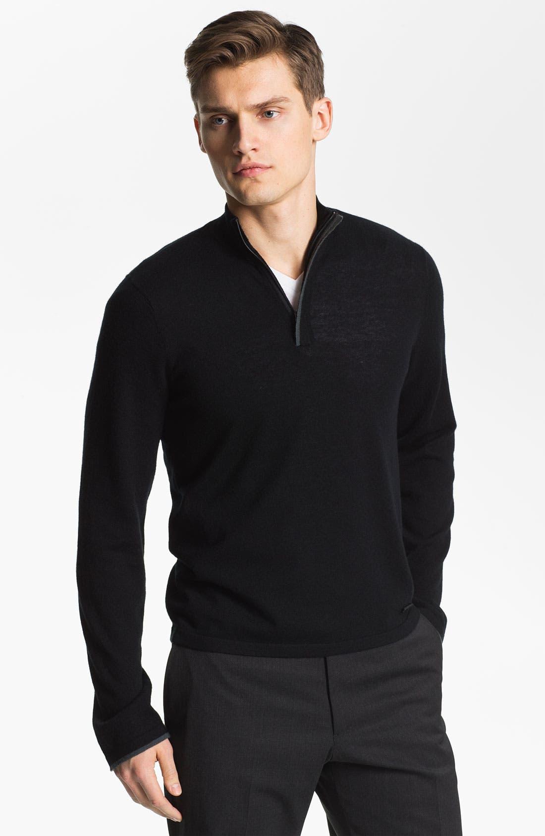 Main Image - Armani Collezioni Quarter Zip Cashmere Sweater
