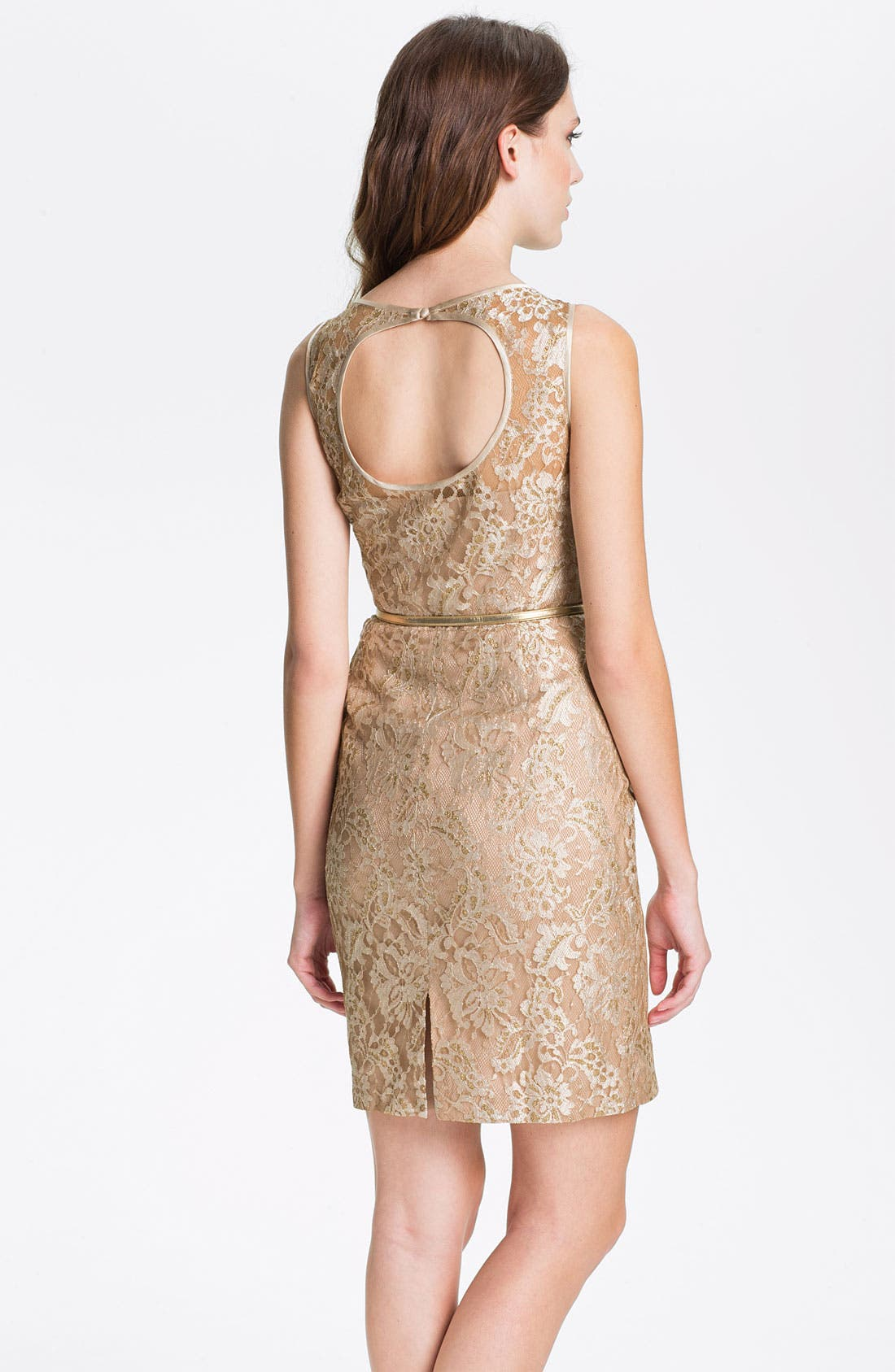 Alternate Image 2  - Maggy London Back Cutout Metallic Lace Sheath Dress