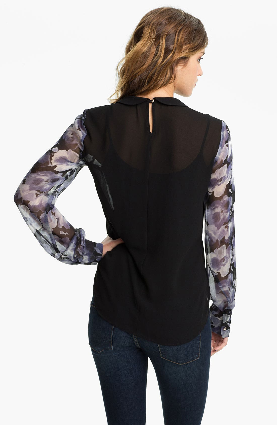 Alternate Image 2  - Chloe K Print Chiffon Blouse (Juniors)